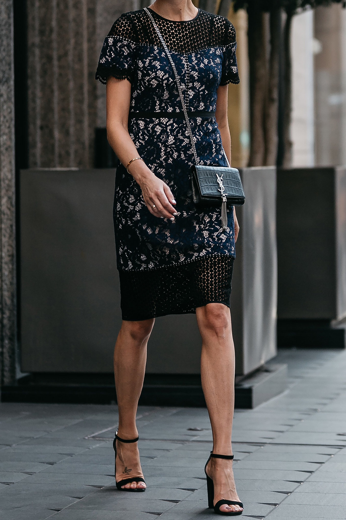 Club Monaco Black Navy Lace Dress YSL Black Monogram Tassel Clutch Black Ankle Strap Heeled Sandals Fashion Jackson Dallas Blogger Fashion Blogger Street Style