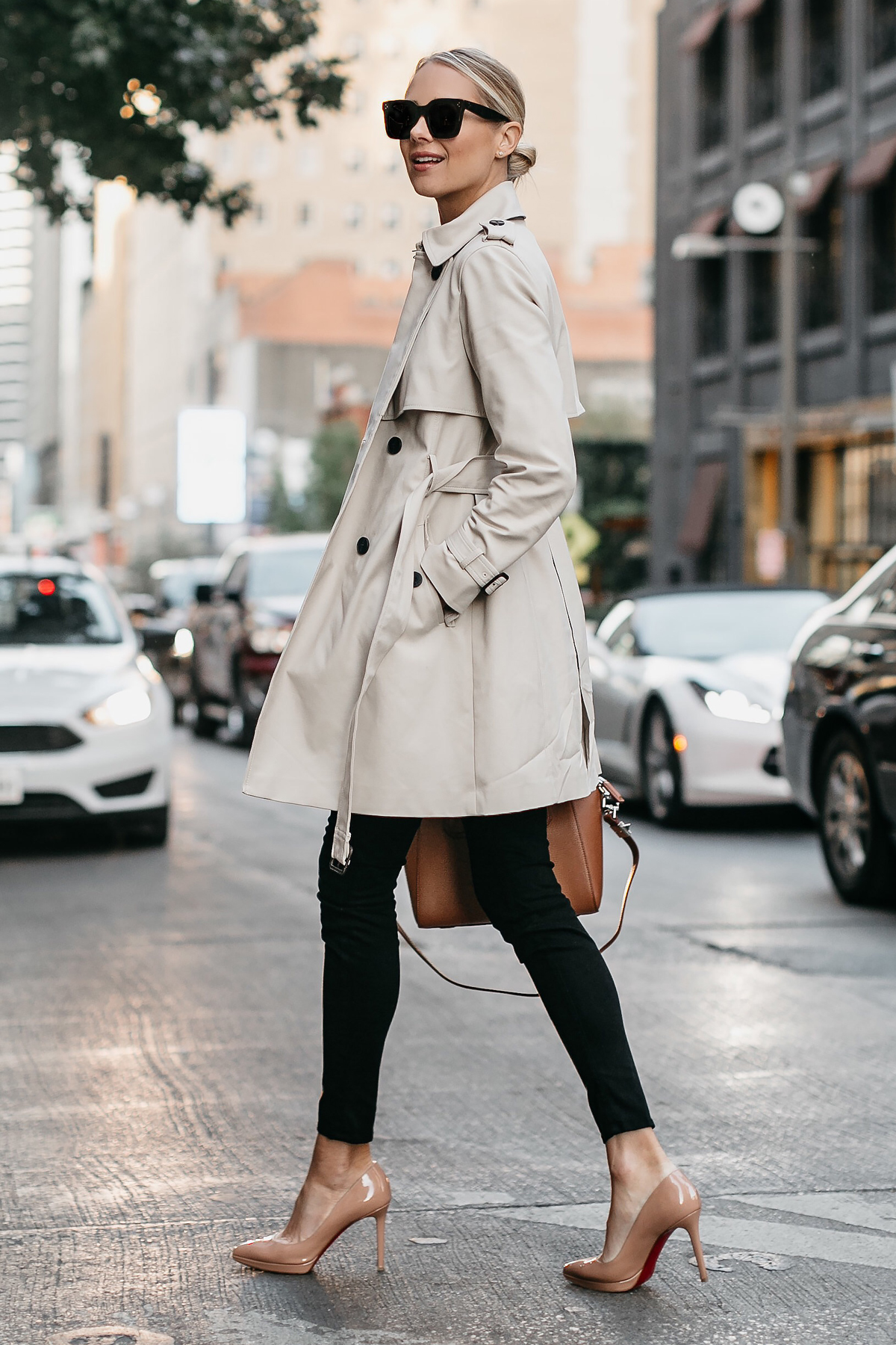 Blonde Woman Wearing Club Monaco Trench Coat Black Sweater Black Skinny Jeans Christian Louboutin Nude Pumps Fashion Jackson Dallas Blogger Fashion Blogger Street Style