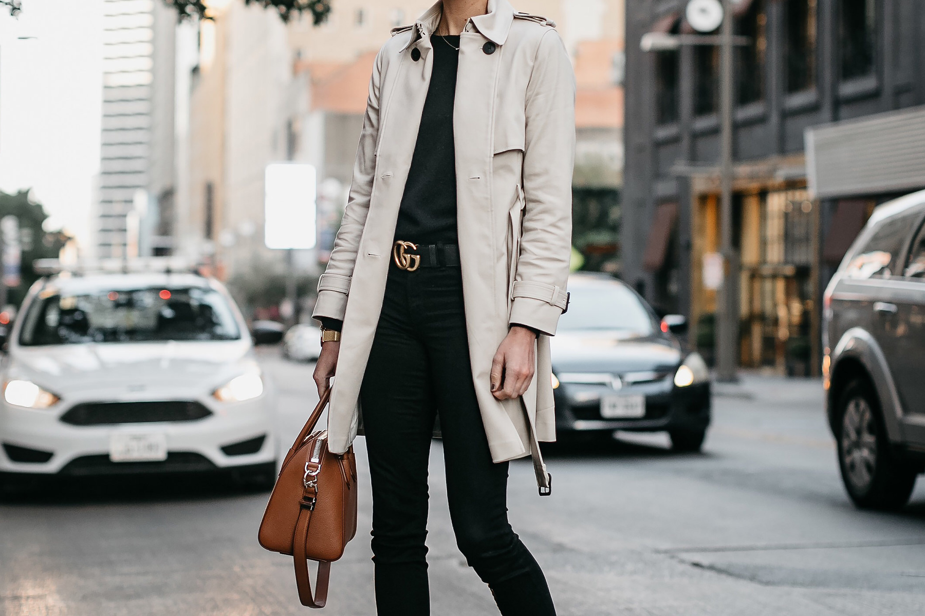 Club Monaco Trench Coat Black Sweater Black Skinny Jeans Gucci Marmont Belt Givenchy Antigona Cognac Satchel Fashion Jackson Dallas Blogger Fashion Blogger Street Style