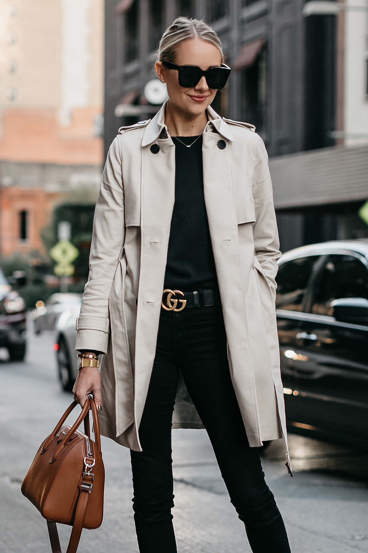 Blonde Woman Wearing Club Monaco Trench Coat Black Sweater Black Skinny Jeans Gucci Marmont Belt Givenchy Antigona Cognac Satchel Fashion Jackson Dallas Blogger Fashion Blogger Street Style