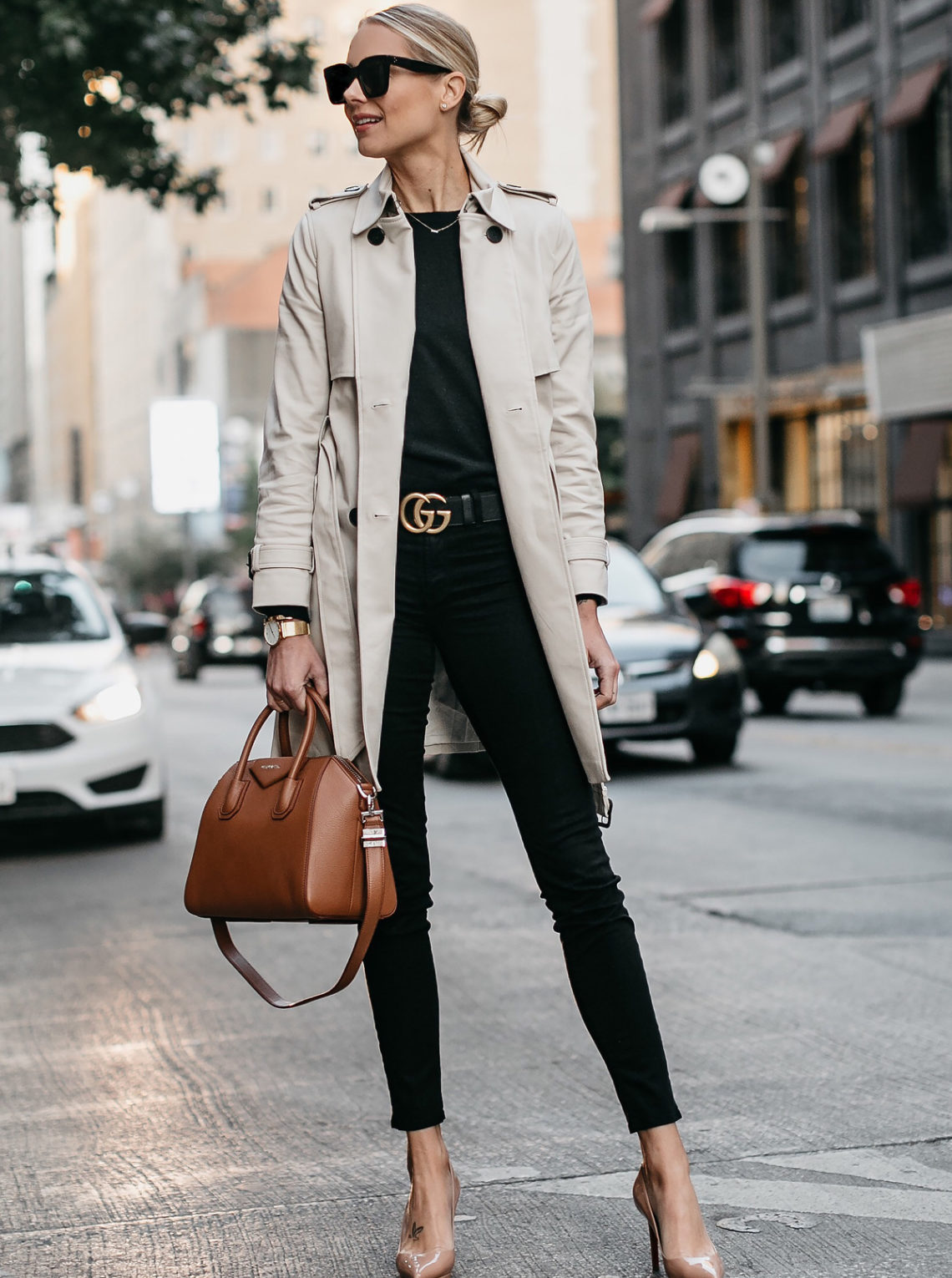 Blonde Woman Wearing Club Monaco Trench Coat Black Sweater Black Skinny Jeans Gucci Marmont Belt Nude Pumps Givenchy Antigona Cognac Satchel Fashion Jackson Dallas Blogger Fashion Blogger Street Style
