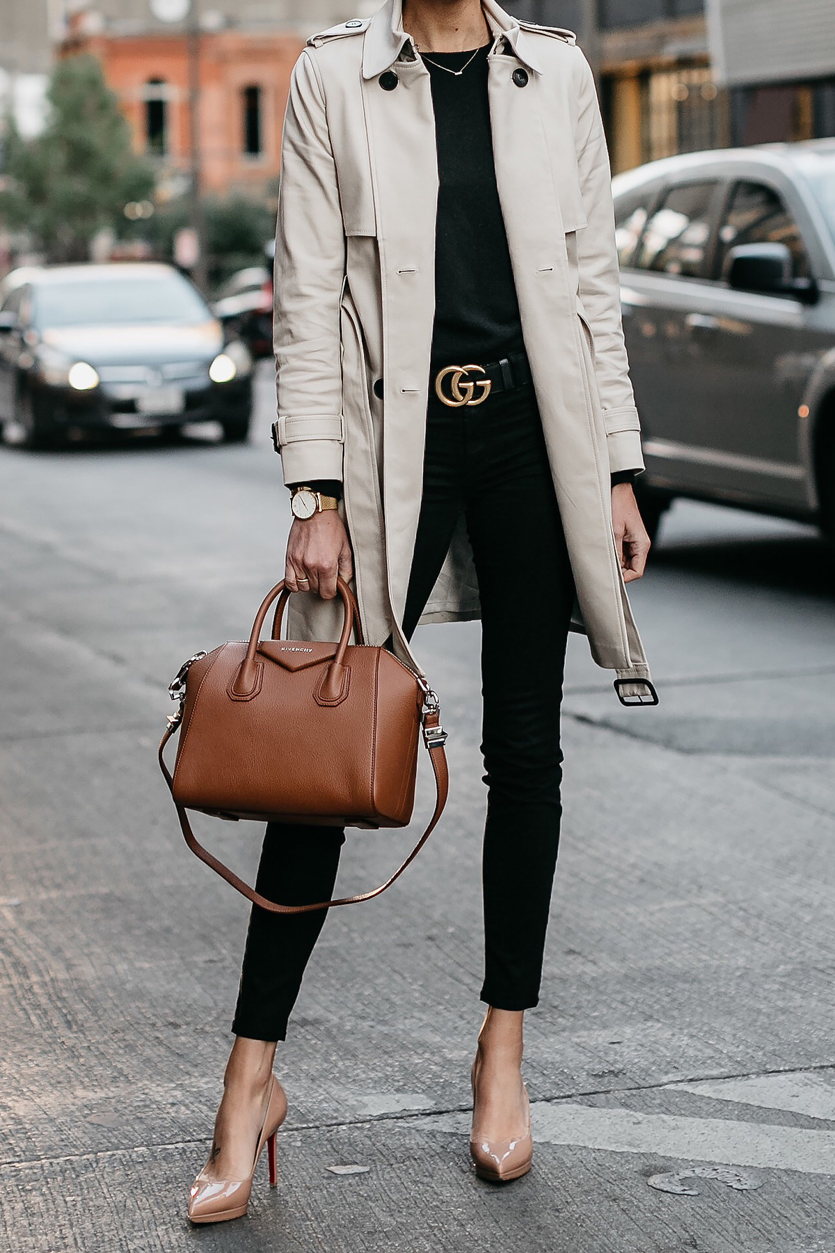 Club Monaco Trench Coat Black Sweater Black Skinny Jeans Gucci Marmont Belt Nude Pumps Givenchy Antigona Cognac Satchel Fashion Jackson Dallas Blogger Fashion Blogger Street Style