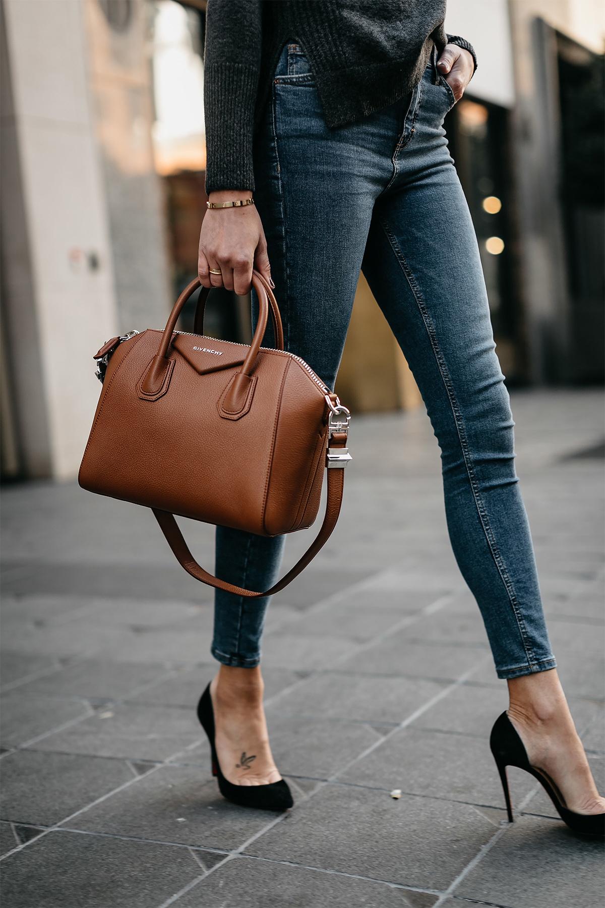 Denim Skinny Jeans Givenchy Antigona Cognac Handbag Black Pumps Fashion Jackson Dallas Blogger Fashion Blogger Street Style