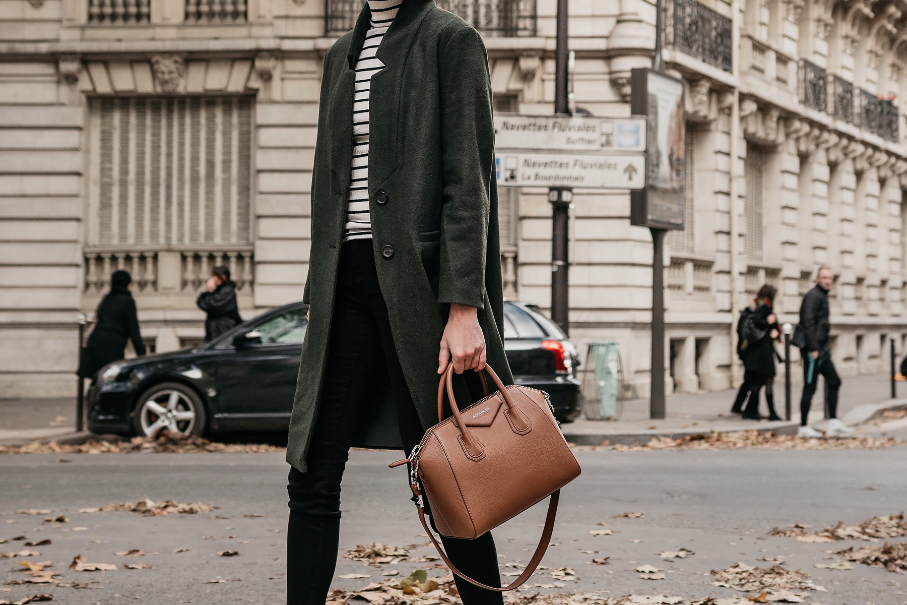 Eiffel Tower Paris France Green Wool Coat Black White Stripe Turtleneck Black Skinny Jeans Givency Antigona Cognac Satchel Fashion Jackson Dallas Blogger Fashion Blogger Street Style
