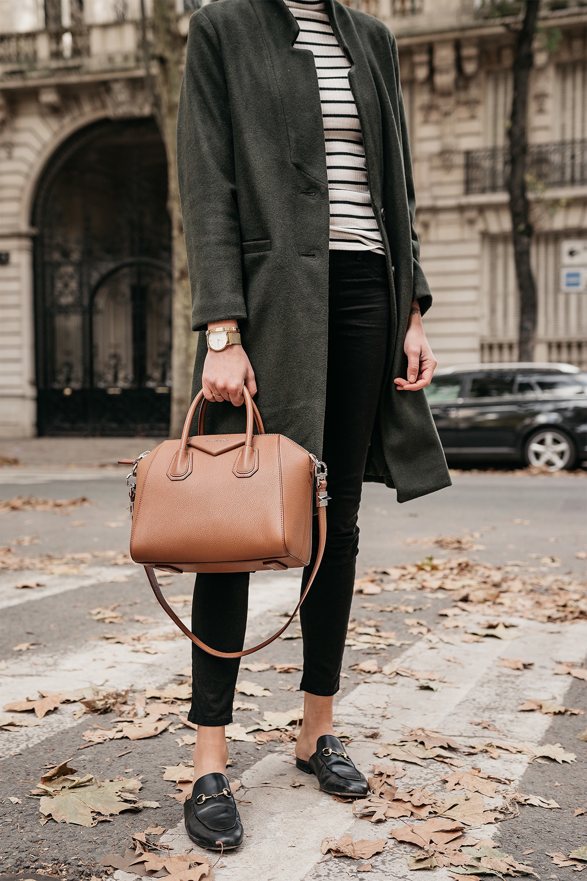 Eiffel Tower Paris France Green Wool Coat Black White Stripe Turtleneck Black Skinny Jeans Givency Antigona Cognac Satchel Gucci Mules Fashion Jackson Dallas Blogger Fashion Blogger Street Style