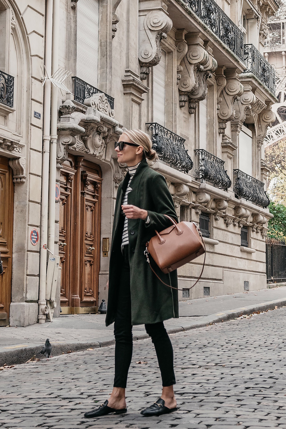 Eiffel Tower Paris Blonde Woman Wearing France Green Wool Coat Black White Stripe Turtleneck Black Skinny Jeans Givency Antigona Cognac Satchel Gucci Mules Fashion Jackson Dallas Blogger Fashion Blogger Street Style
