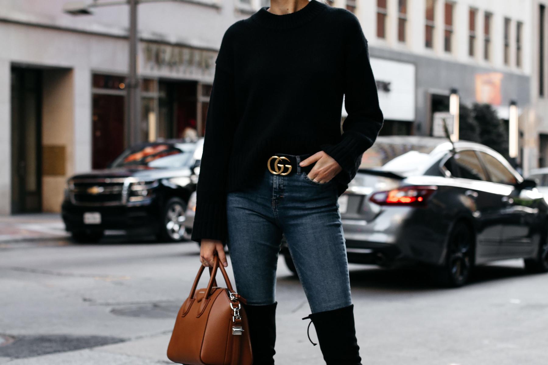 Everlane Black Oversized Sweater Denim Skinny Jeans Gucci Marmont Belt Givenchy Antigona Cognac Satchel Fashion Jackson Dallas Blogger Fashion Blogger Street Style
