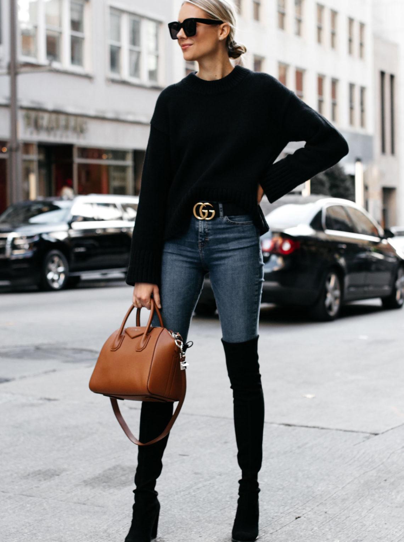 Blonde Woman Wearing Everlane Black Oversized Sweater Denim Skinny Jeans Gucci Marmont Belt Stuart Weitzman Black Over the Knee Boots Givenchy Antigona Cognac Satchel Fashion Jackson Dallas Blogger Fashion Blogger Street Style
