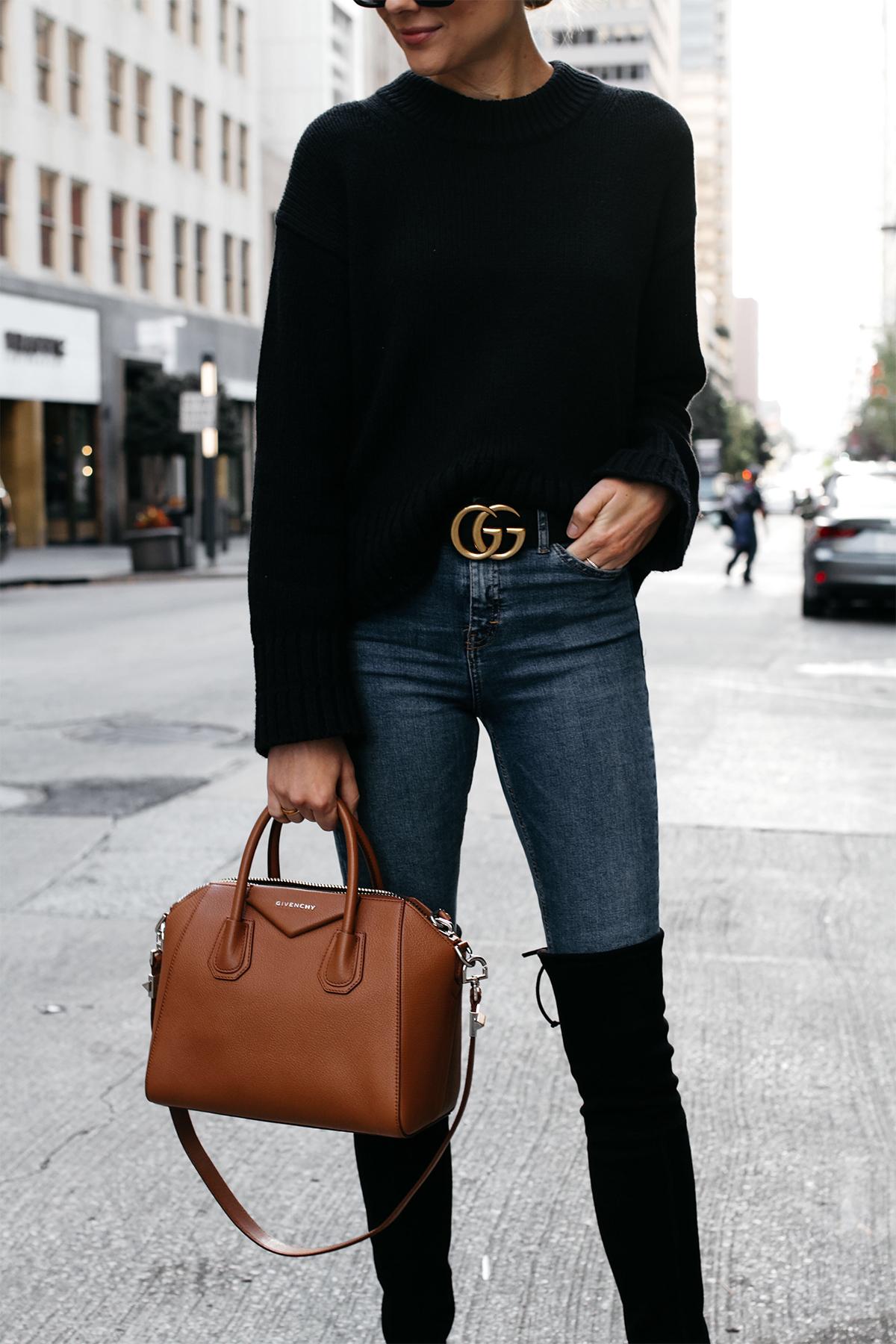 Everlane Black Oversized Sweater Denim Skinny Jeans Gucci Marmont Belt Stuart Weitzman Black Over the Knee Boots Givenchy Antigona Cognac Satchel Fashion Jackson Dallas Blogger Fashion Blogger Street Style