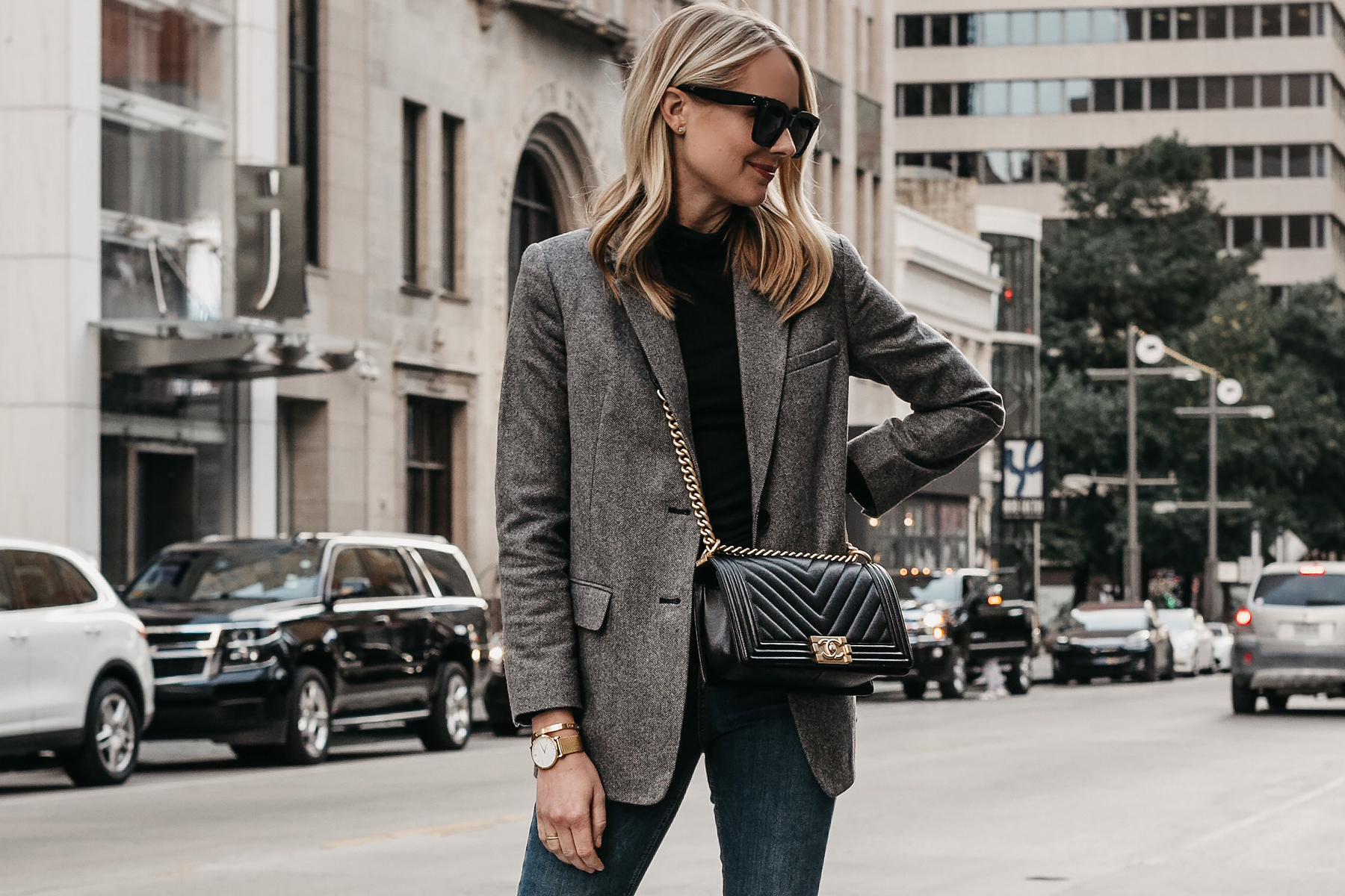 Blonde Woman Wearing Everlane Oversized Grey Blazer Chanel Black Boy Bag Fashion Jackson Dallas Blogger Fashion Blogger Street Style