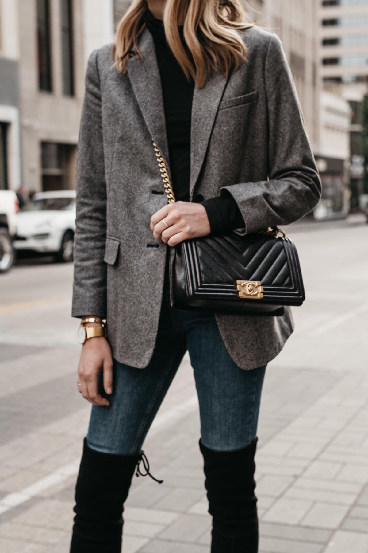 Blonde Woman Wearing Everlane Oversized Grey Blazer Chanel Black Boy Bag Denim Jeans Over the Knee Boots Fashion Jackson Dallas Blogger Fashion Blogger Street Style