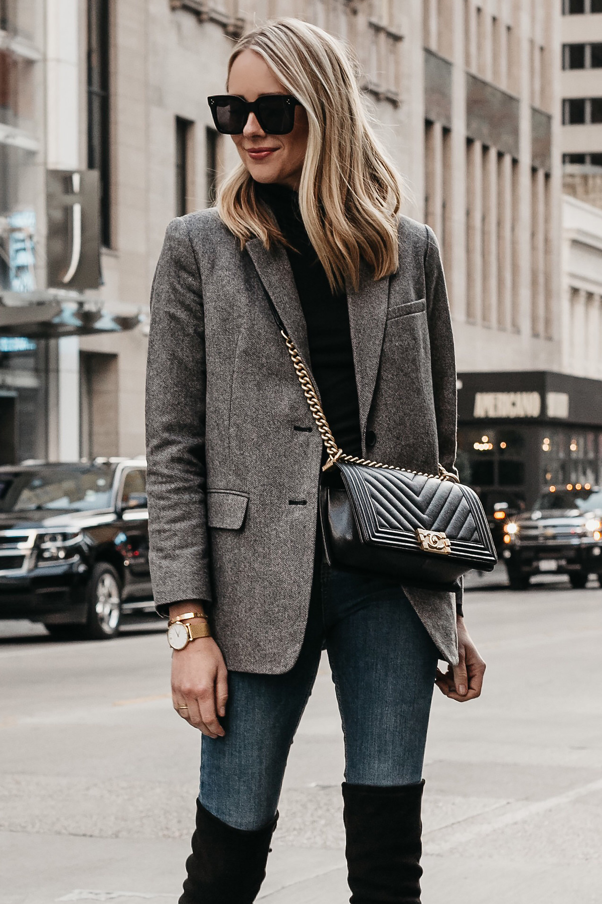 Blonde Woman Wearing Everlane Oversized Grey Blazer Chanel Black Boy Bag Denim Jeans Fashion Jackson Dallas Blogger Fashion Blogger Street Style