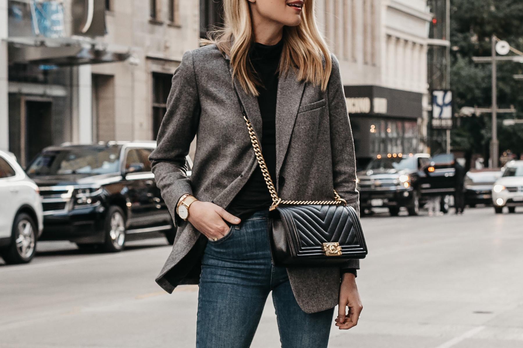 Blonde Woman Wearing Everlane Oversized Grey Blazer Chanel Black Boy Bag Fashion Jackson Dallas Blogger Fashion Blogger Street Style