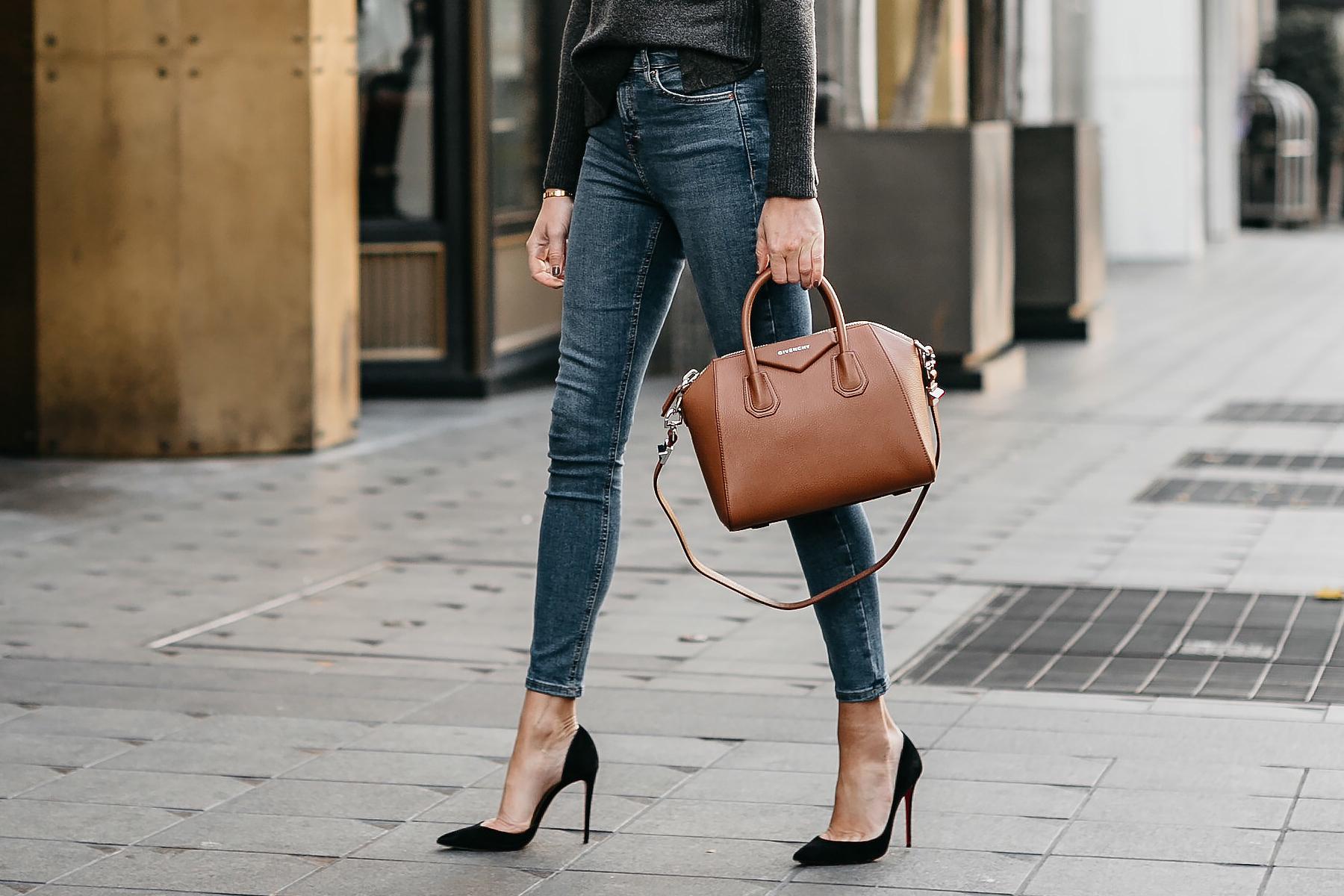 Givenchy Antigona Cognac Handbag Denim Skinny Jeans Black Pumps Fashion Jackson Dallas Blogger Fashion Blogger Street Style
