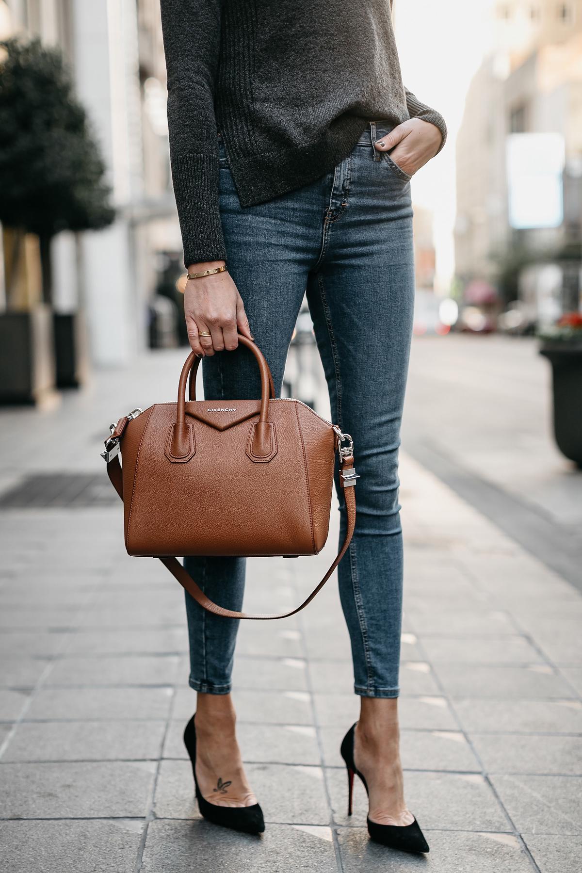 Grey Sweater Denim Skinny Jeans Givenchy Antigona Cognac Handbag Black Pumps Fashion Jackson Dallas Blogger Fashion Blogger Street Style