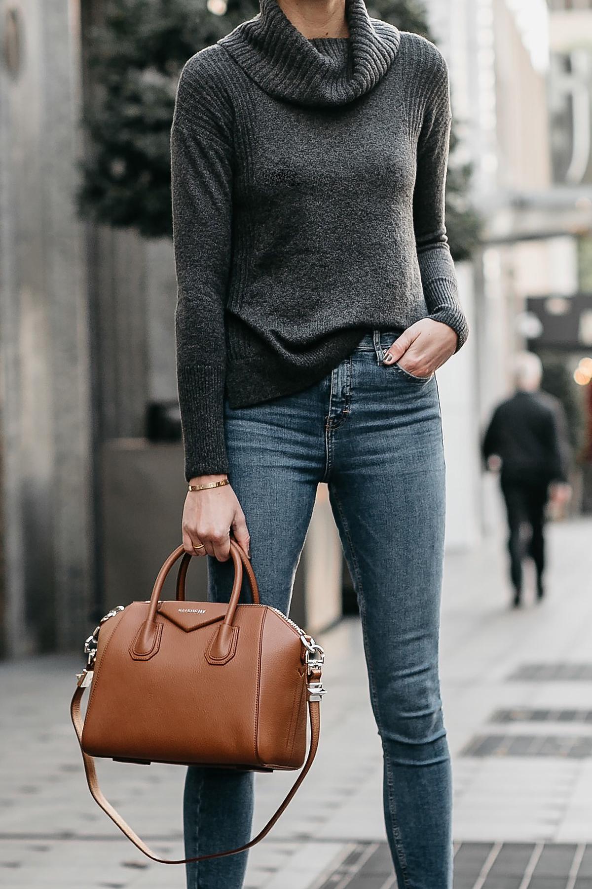 Grey Turtleneck Sweater Denim Skinny Jeans Givenchy Antigona Cognac Handbag Fashion Jackson Dallas Blogger Fashion Blogger Street Style