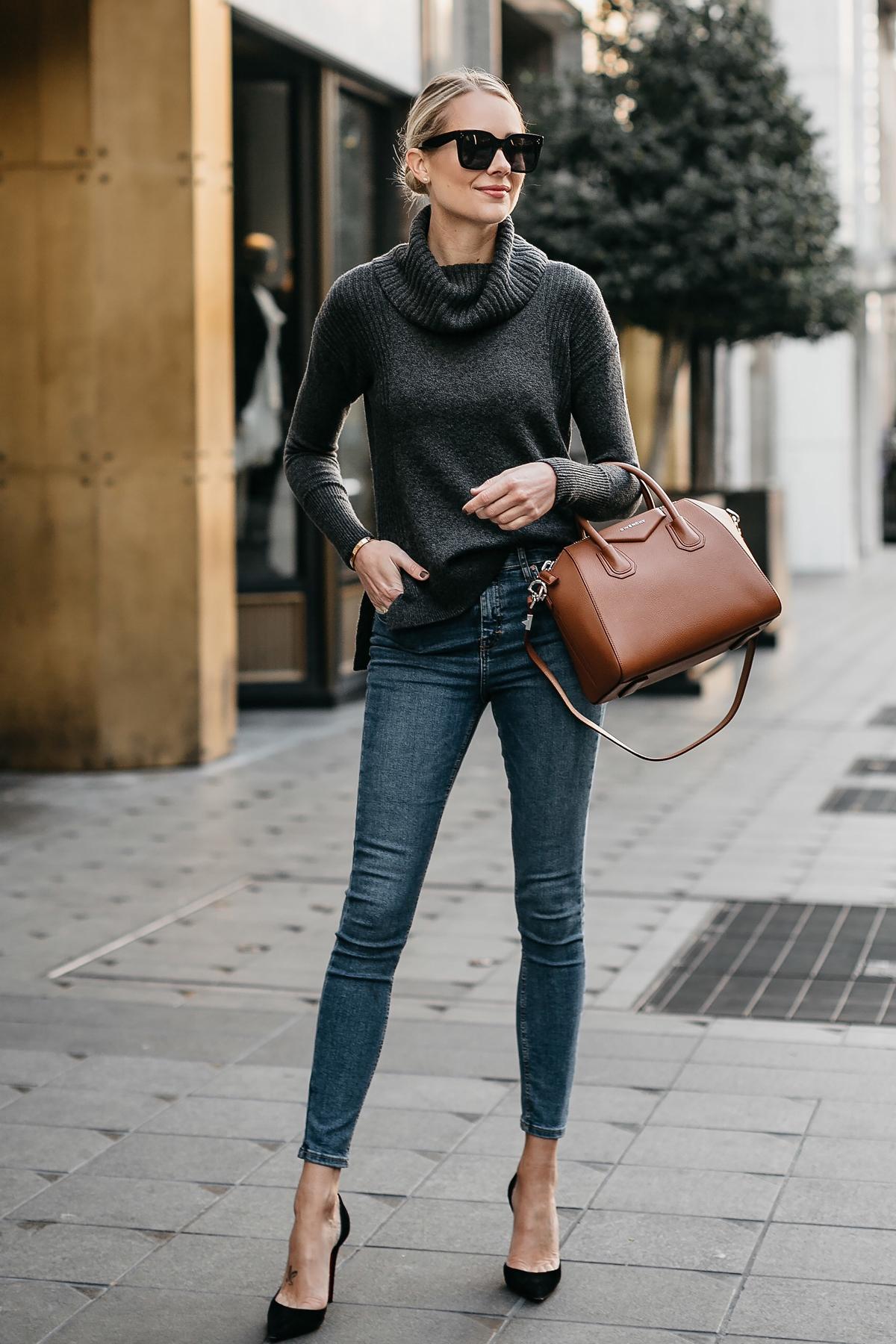 Blonde Woman Wearing Grey Turtleneck Sweater Denim Skinny Jeans Givenchy Antigona Cognac Handbag Fashion Jackson Dallas Blogger Street Style