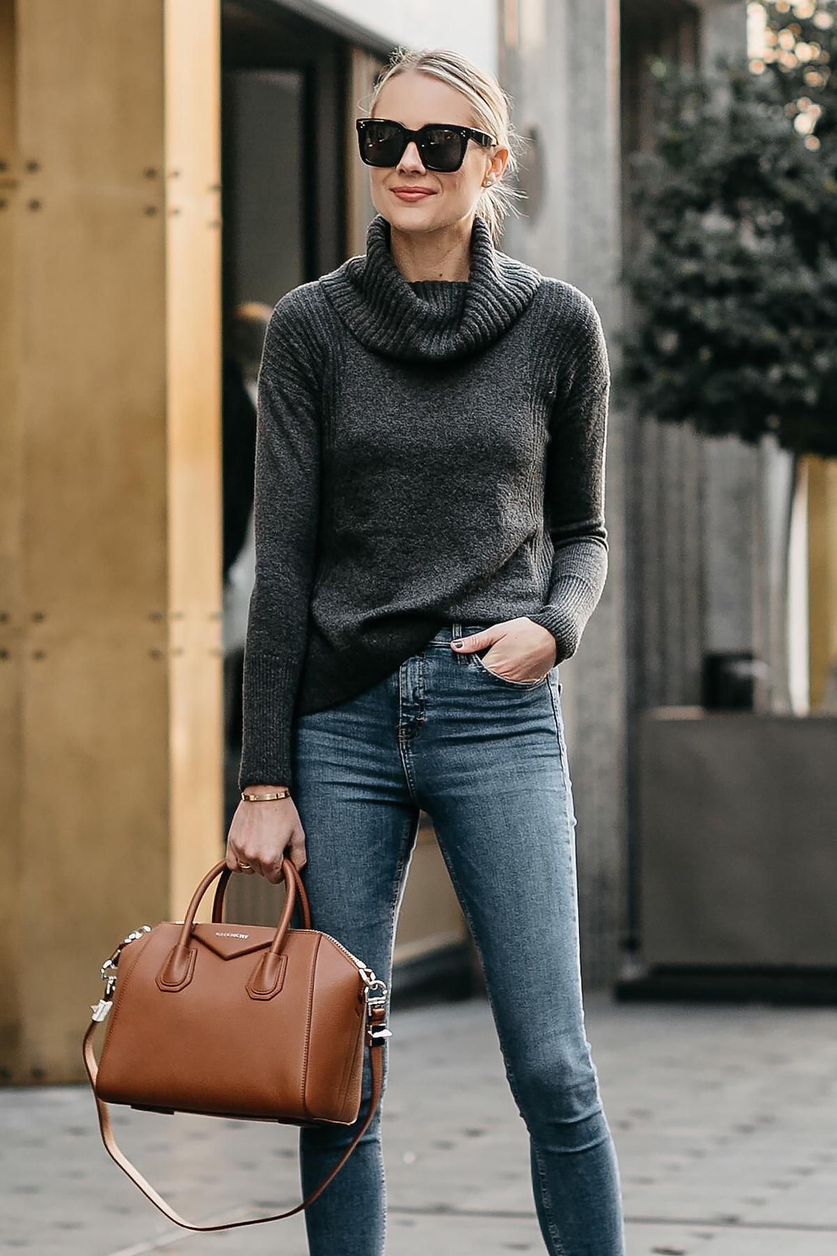 db87a8db04dd Blonde Woman Wearing Grey Turtleneck Sweater Denim Skinny Jeans Givenchy  Antigona Cognac Handbag Fashion Jackson Dallas