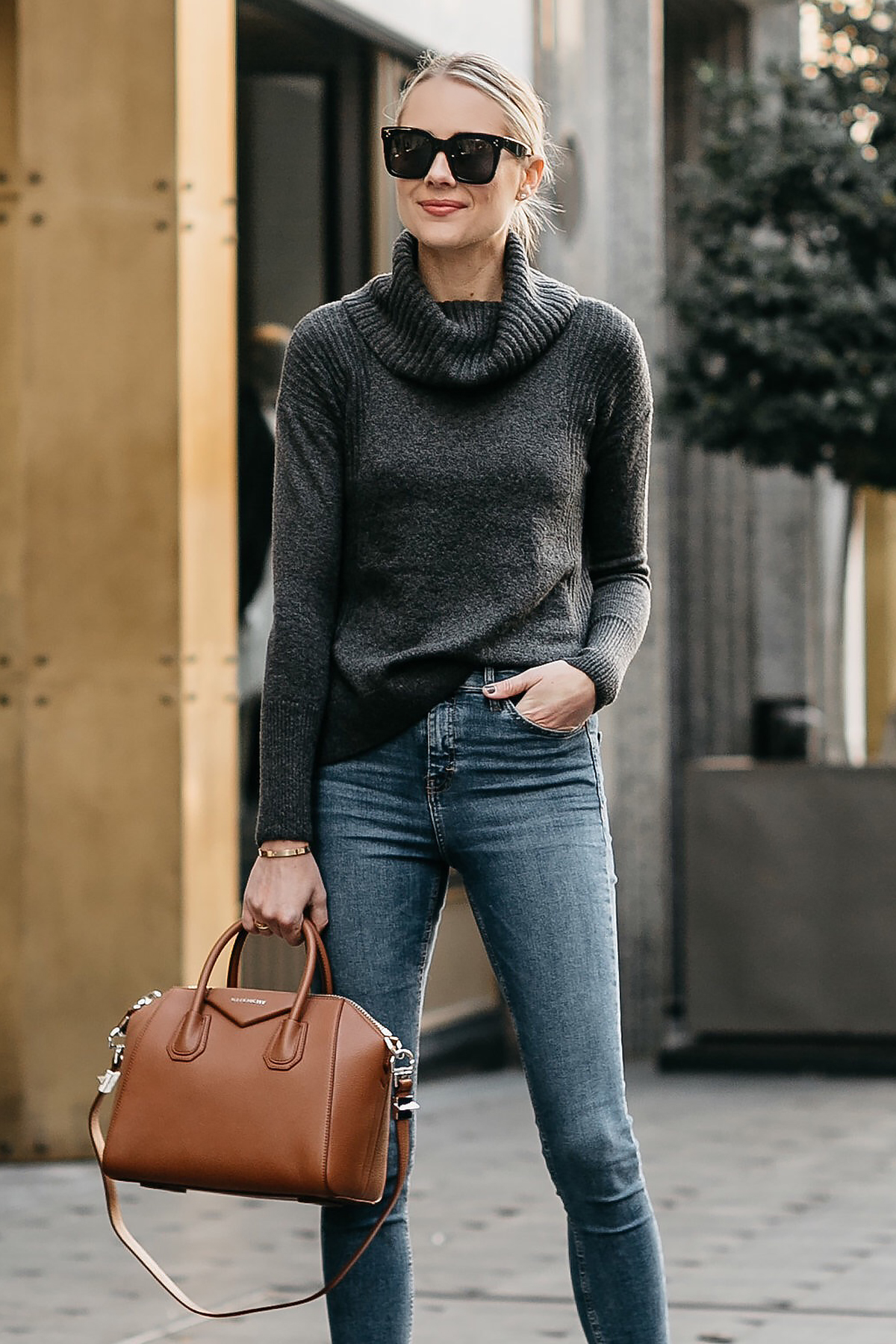 Blonde Woman Wearing Grey Turtleneck Sweater Denim Skinny Jeans Givenchy Antigona Cognac Handbag Fashion Jackson Dallas Blogger Fashion Blogger Street Style