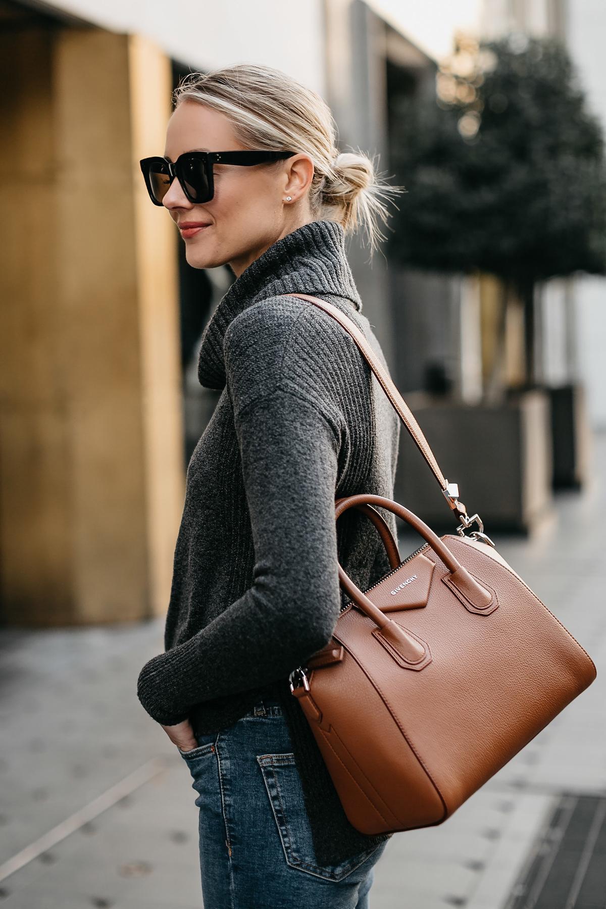 Blonde Woman Wearing Grey Turtleneck Sweater Givenchy Antigona Cognac Handbag Fashion Jackson Dallas Blogger Fashion Blogger Street Style