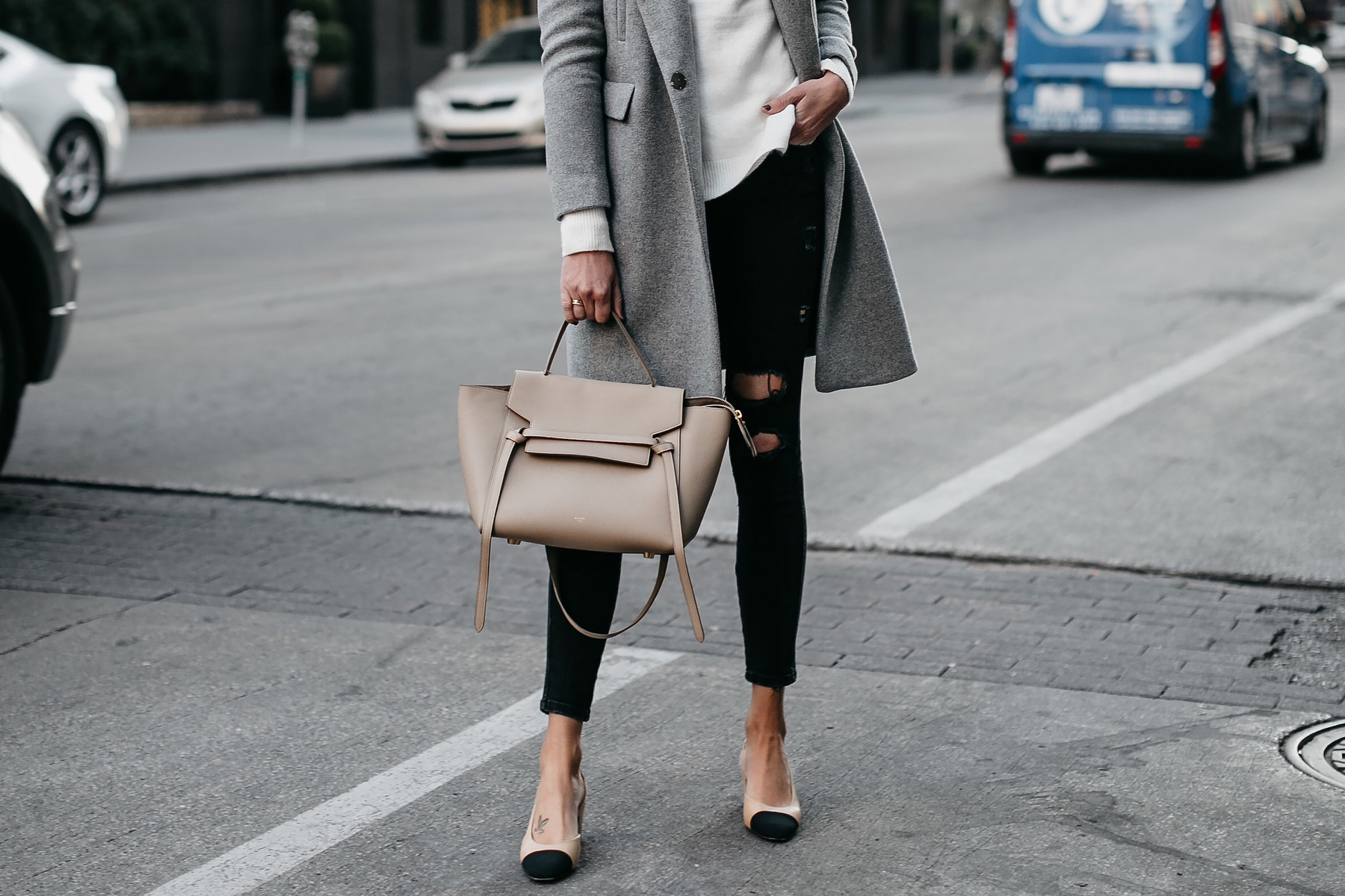 Grey Wool Coat White Sweater Celine Mini Belt Bag Black Ripped Skinny Jeans Chanel Slingbacks Fashion Jackson Dallas Blogger Fashion Blogger Street Style