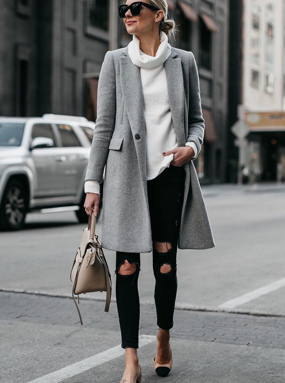 0d430456adc6 Blonde Woman Wearing Grey Wool Coat White Turtleneck Sweater Celine Mini  Belt Bag Black Ripped Skinny