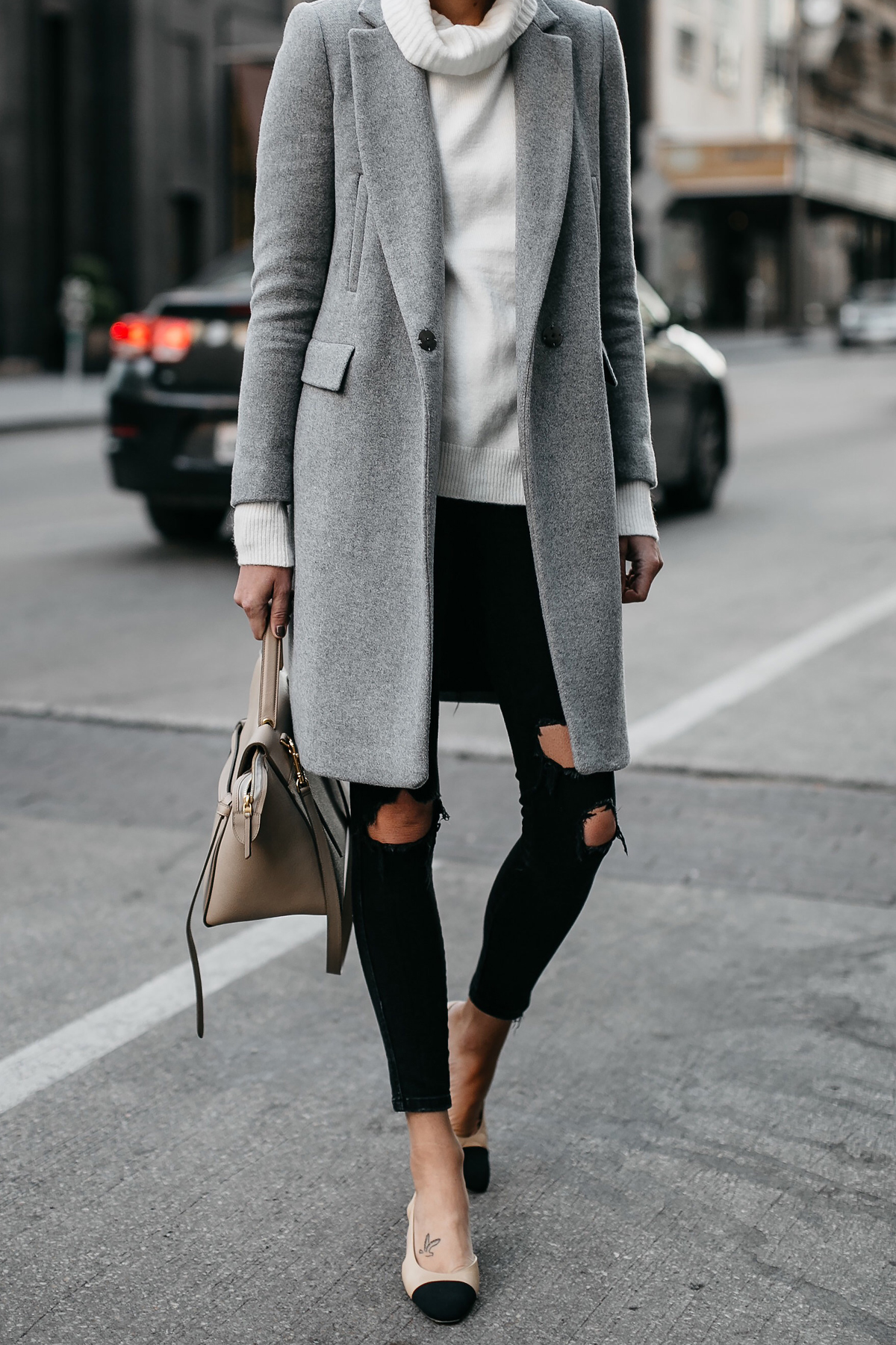 Grey Wool Coat White Turtleneck Sweater Celine Mini Belt Bag Black Ripped Skinny Jeans Chanel Slingbacks Fashion Jackson Dallas Blogger Fashion Blogger Street Style