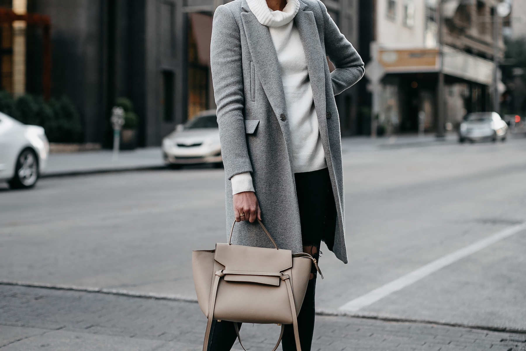 Grey Wool Coat White Turtleneck Sweater Celine Mini Belt Bag Fashion Jackson Dallas Blogger Fashion Blogger Street Style
