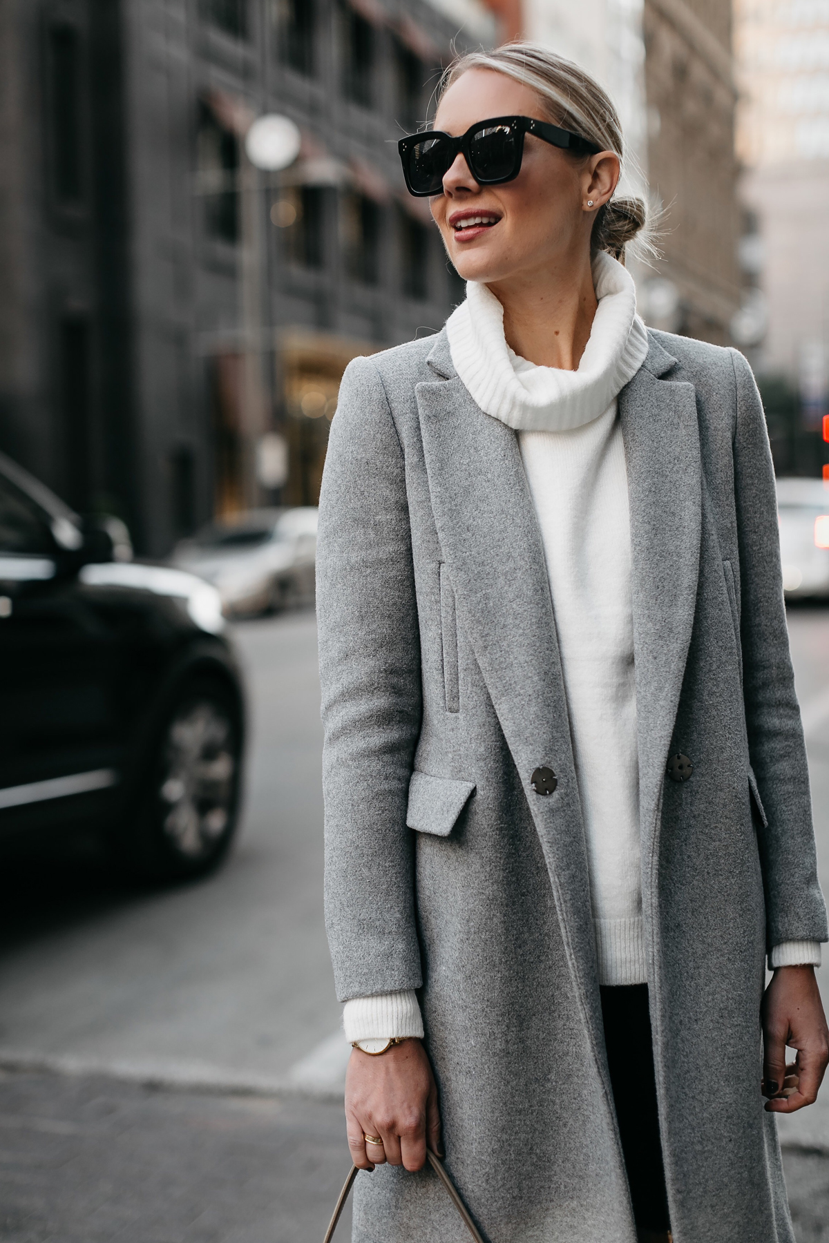Blonde Woman Wearing Grey Wool Coat White Turtleneck Sweater Fashion Jackson Dallas Blogger Fashion Blogger Street Style