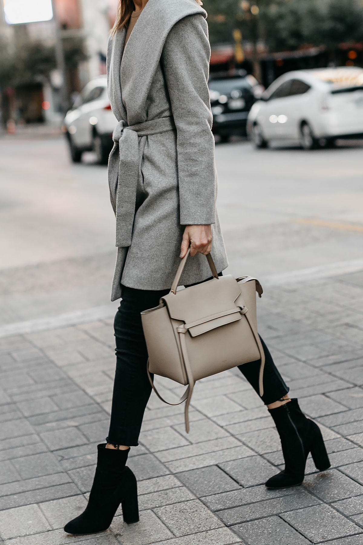 Grey Wrap Coat Black Skinny Jeans Black Booties Outfit Celine Mini Belt Bag Fashion Jackson Dallas Blogger Fashion Blogger Street Style