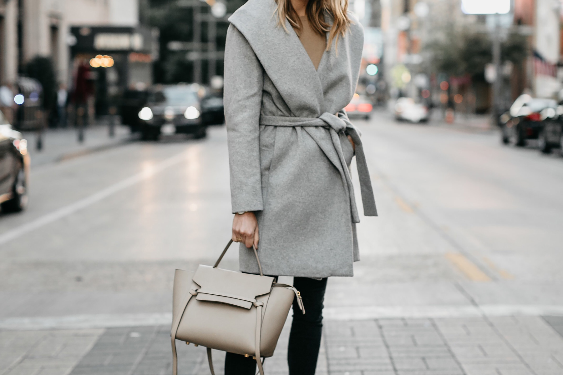 Grey Wrap Coat Outfit Celine Mini Belt Bag Fashion Jackson Dallas Blogger Fashion Blogger Street Style
