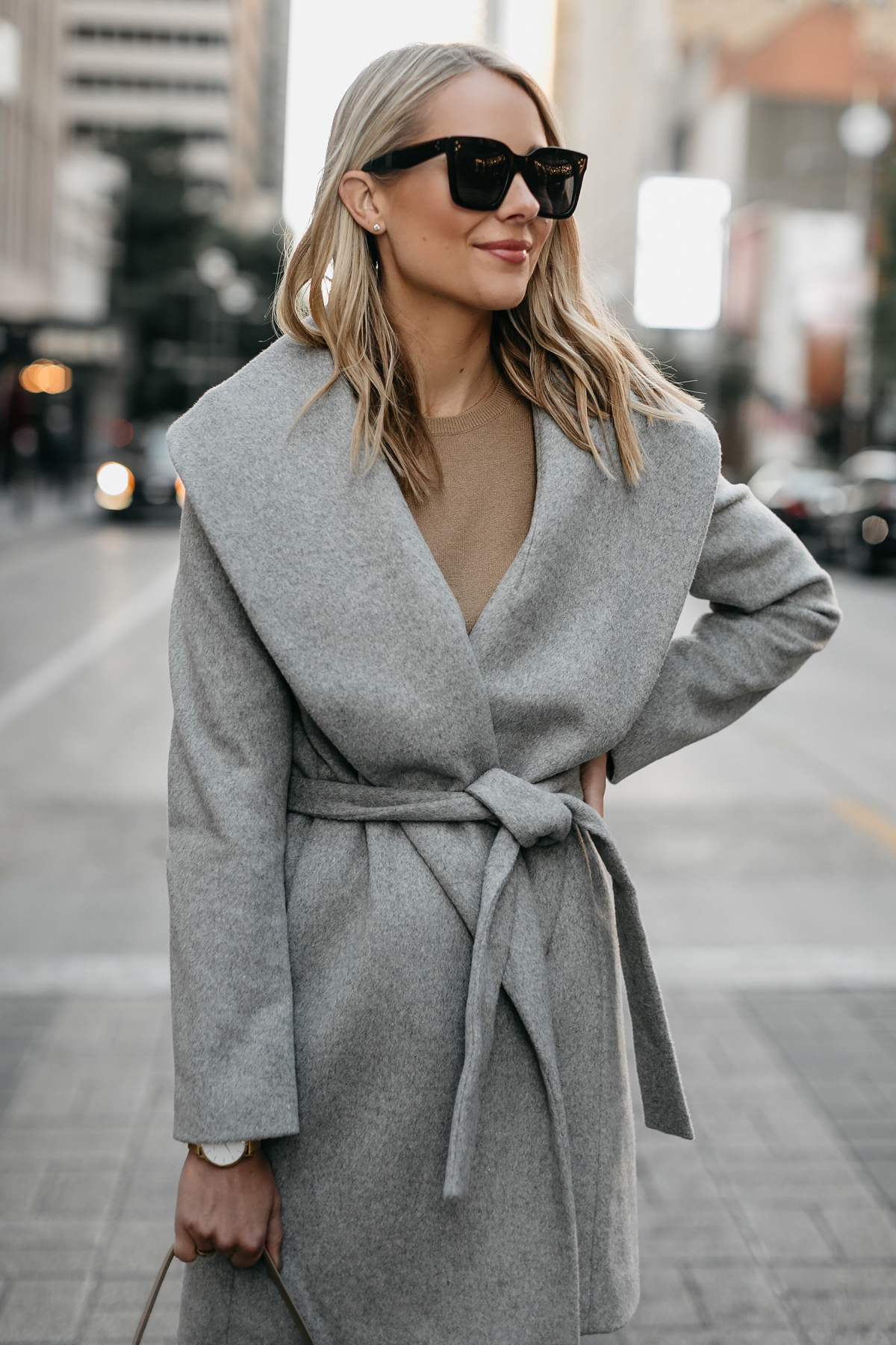 Blonde Woman Wearing Grey Wrap Coat Outfit Fashion Jackson Dallas Blogger Fashion Blogger Street Style