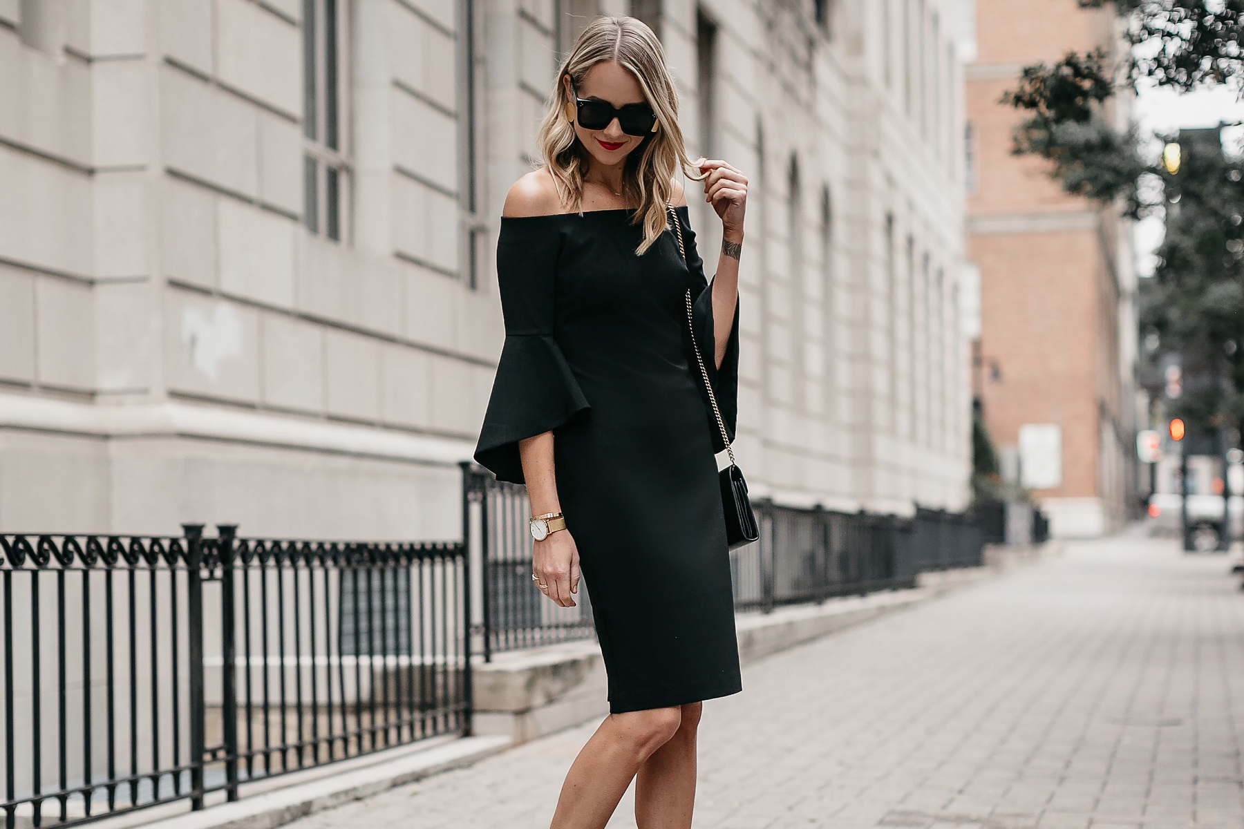 Blonde Woman Wearing Off-the-Shoulder Black Holiday Dress Fashion Jackson Dallas Blogger Fashion Blogger Street Style