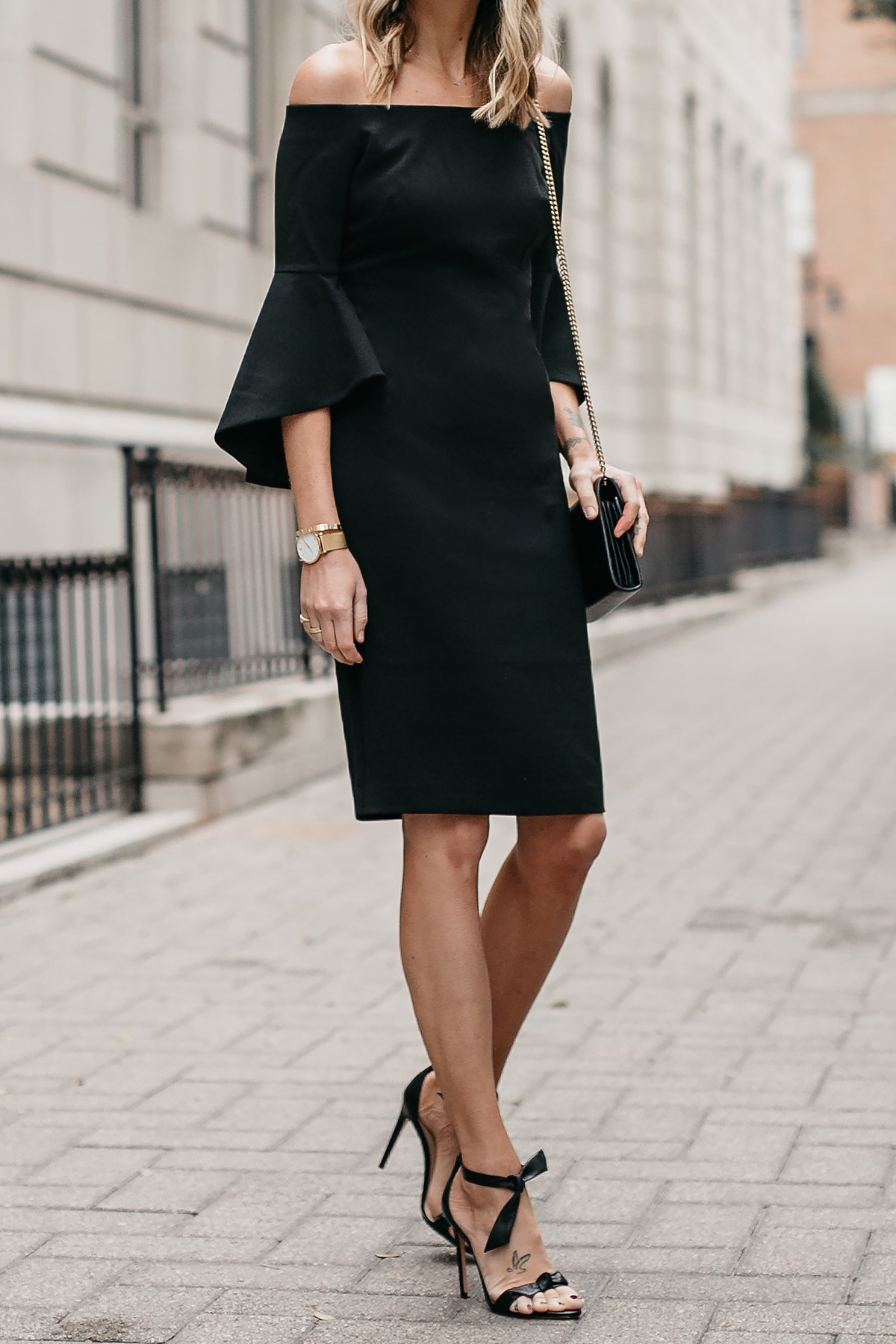 Off-the-Shoulder Black Holiday Dress Alexandre Birman Clarita Ankle Tie Black Heels Fashion Jackson Dallas Blogger Fashion Blogger Street Style