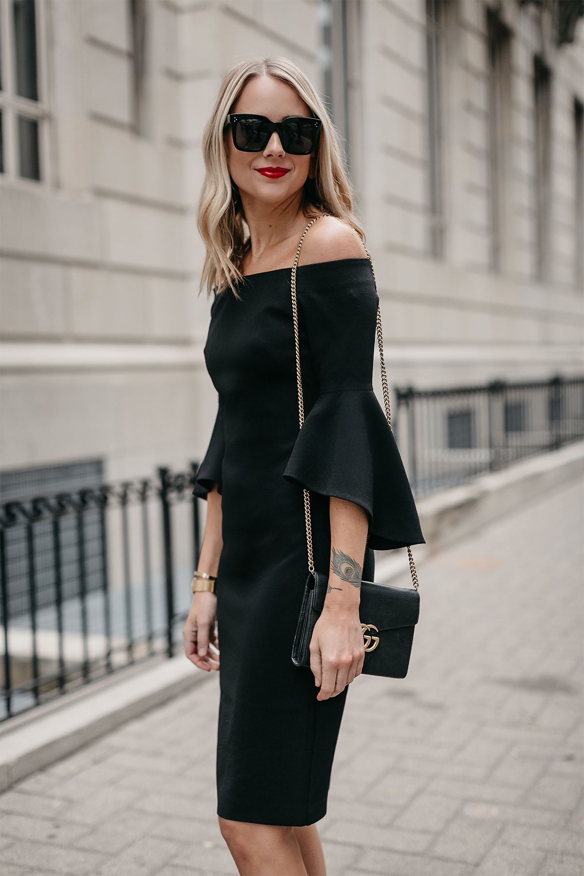 Blonde Woman Wearing Off-the-Shoulder Black Holiday Dress Gucci Marmont Handbag Fashion Jackson Dallas Blogger Fashion Blogger Street Style