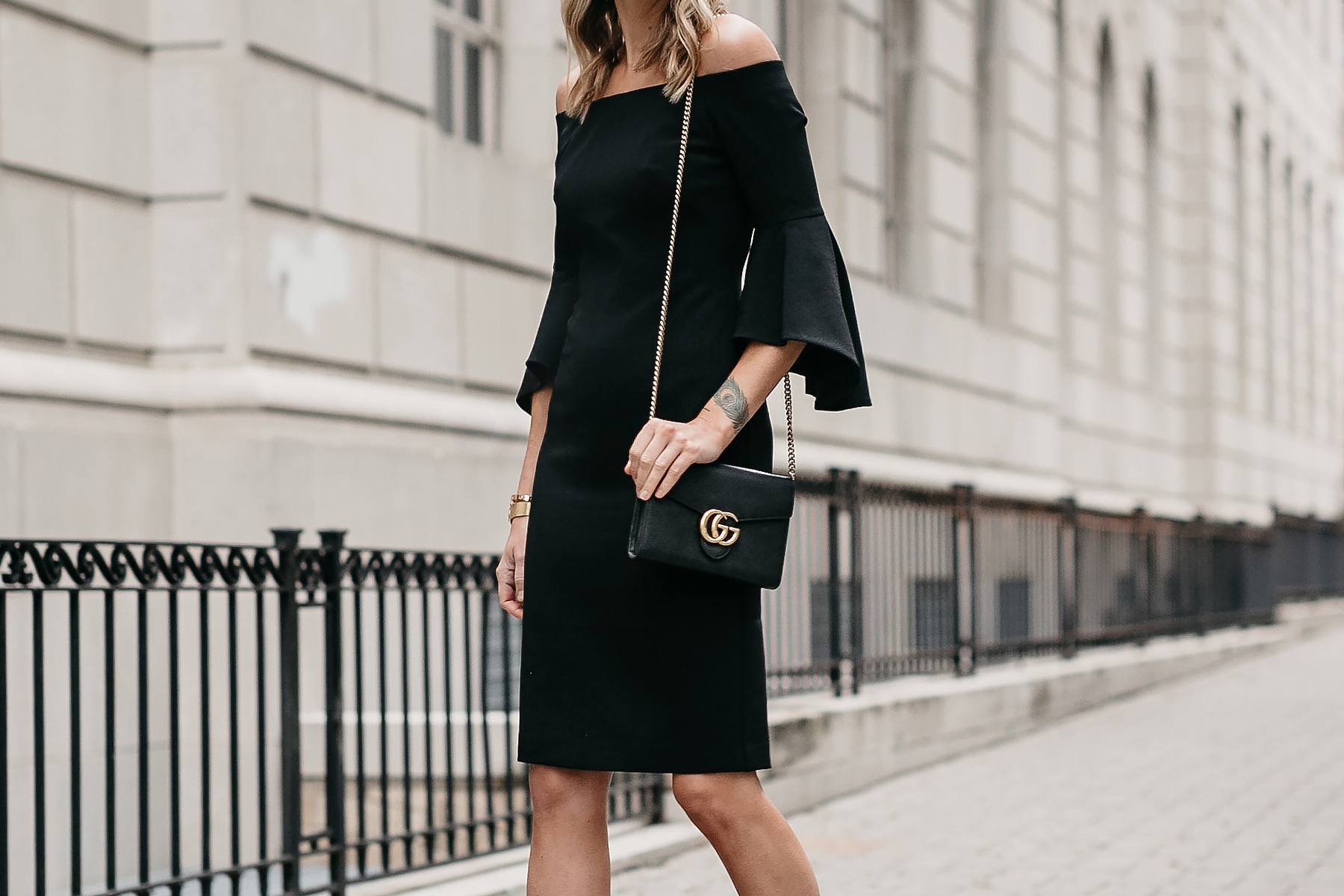 Off-the-Shoulder Black Holiday Dress Gucci Marmont Handbag Fashion Jackson Dallas Blogger Fashion Blogger Street Style