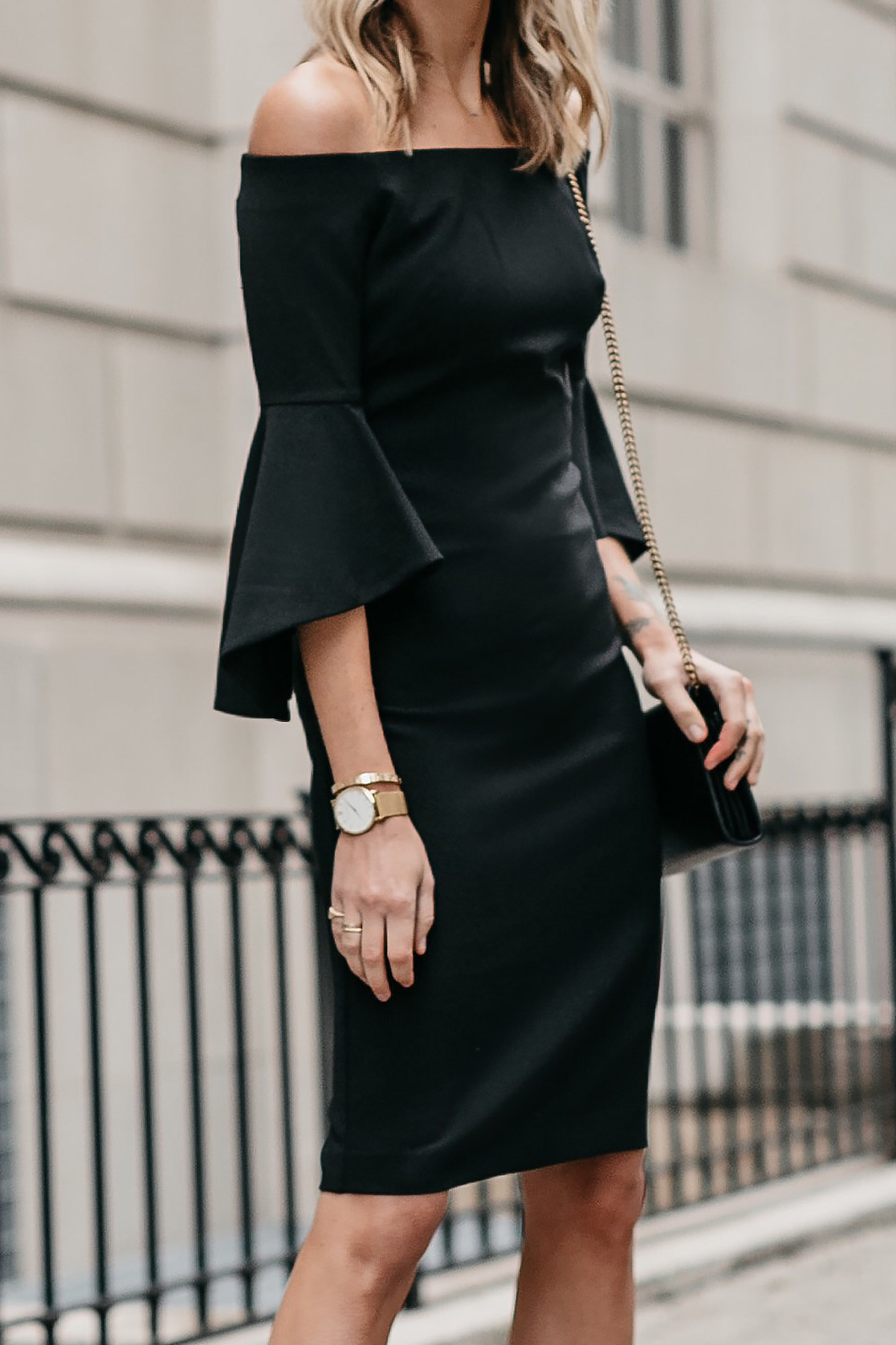 Off-the-Shoulder Black Holiday Dress Fashion Jackson Dallas Blogger Fashion Blogger Street Style