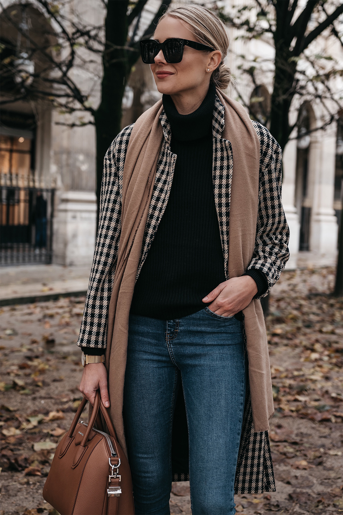 Blonde Woman Wearing Paris France Fall Plaid Check Coat Black Turtleneck Sweater Tan Blanket Scarf Denim Skinny Jeans Givenchy Antigona Cognac Satchel Fashion Jackson Dallas Blogger Fashion Blogger Street Style