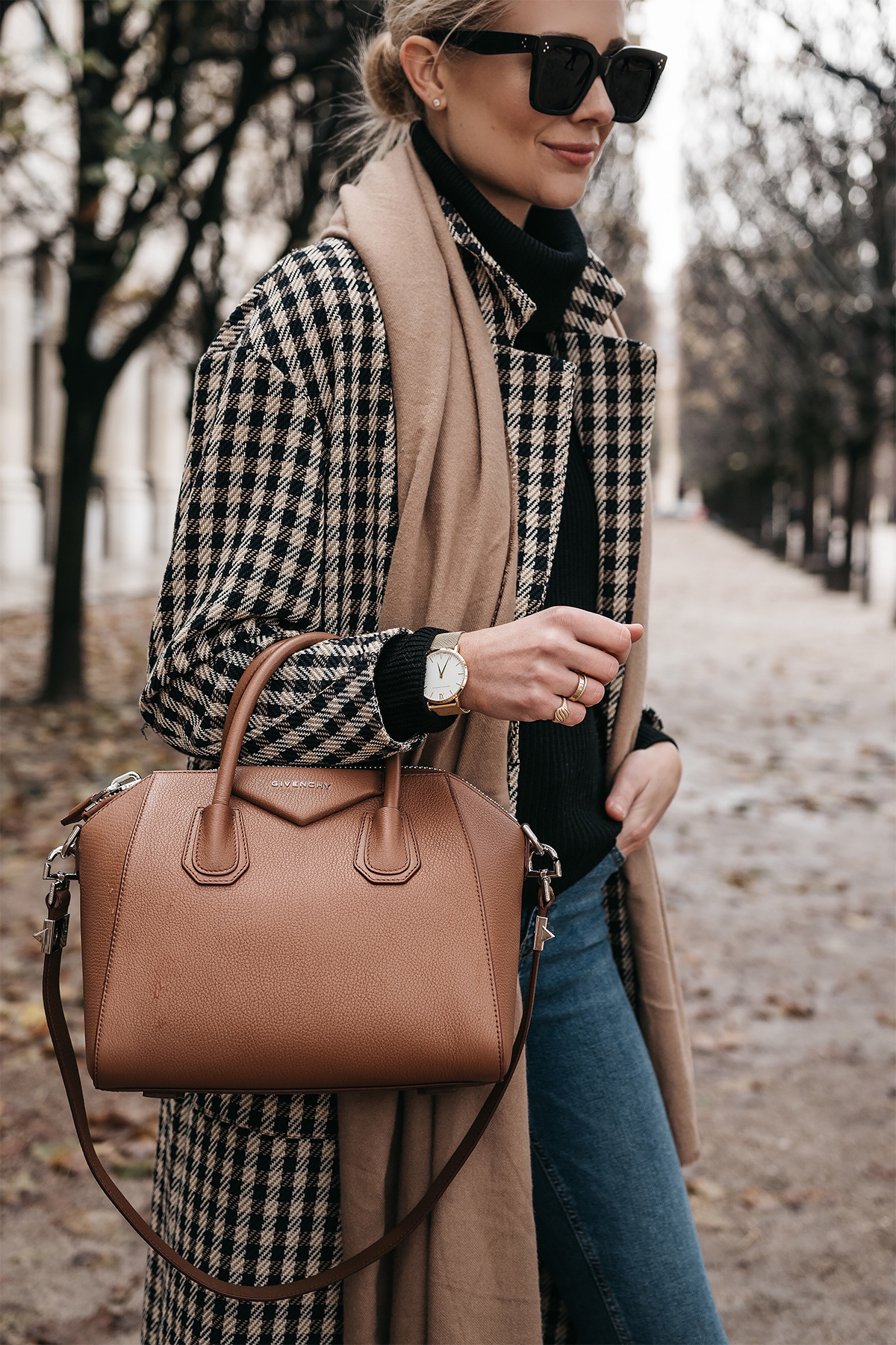 Blonde Woman Wearing Paris France Fall Plaid Check Coat Black Turtleneck Sweater Tan Blanket Scarf Givenchy Antigona Cognac Satchel Fashion Jackson Dallas Blogger Fashion Blogger Street Style