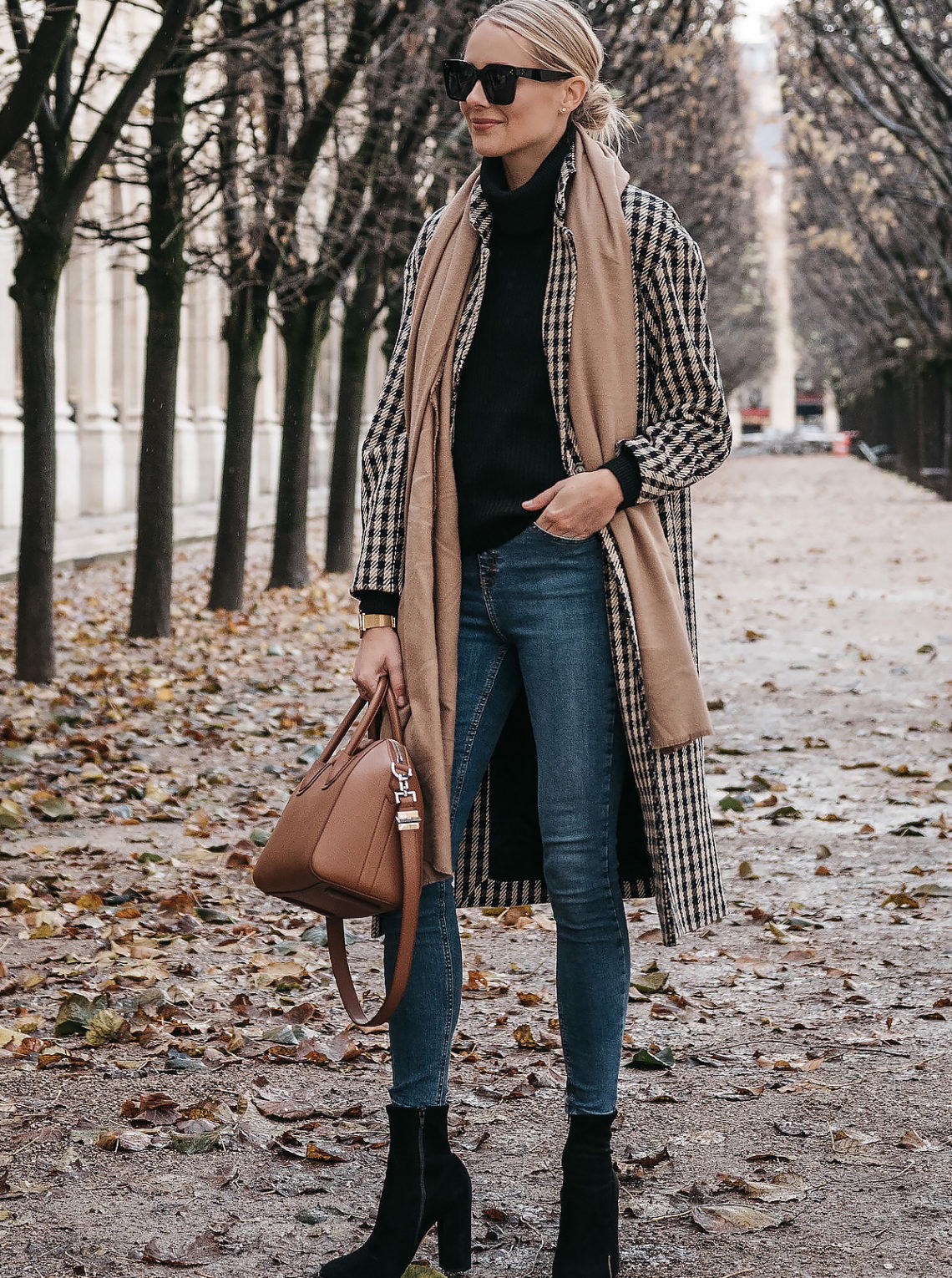 Paris France Fall Blonde Woman Wearing Plaid Check Coat Tan Blanket Scarf Denim Skinny Jeans Black Ankle Booties Fashion Jackson Dallas Blogger Fashion Blogger Street Style