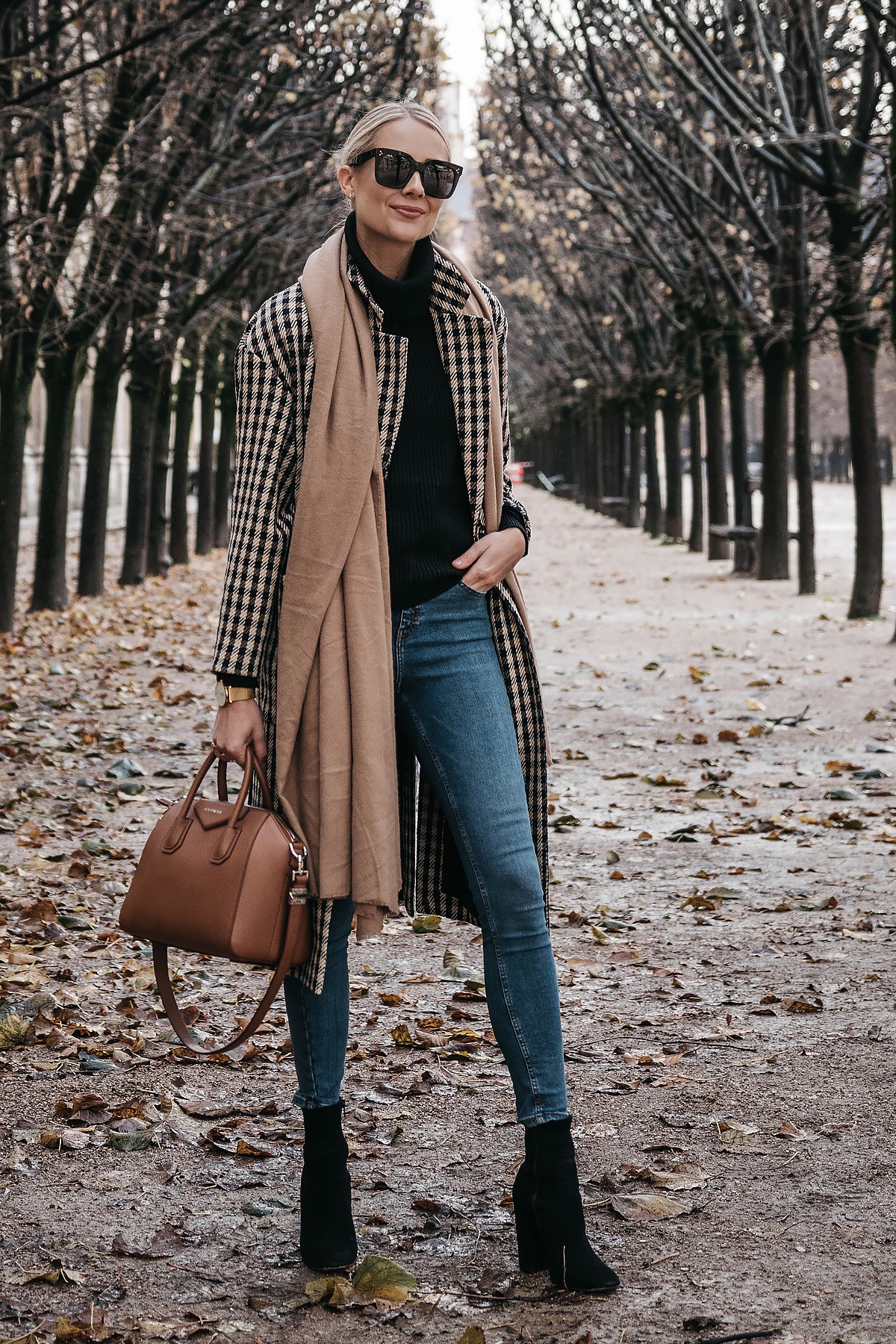 Blonde Woman Wearing Paris France Fall Plaid Check Coat Tan Blanket Scarf Denim Skinny Jeans Black Ankle Booties Givenchy Antigona Cognac Satchel Fashion Jackson Dallas Blogger Fashion Blogger Street Style