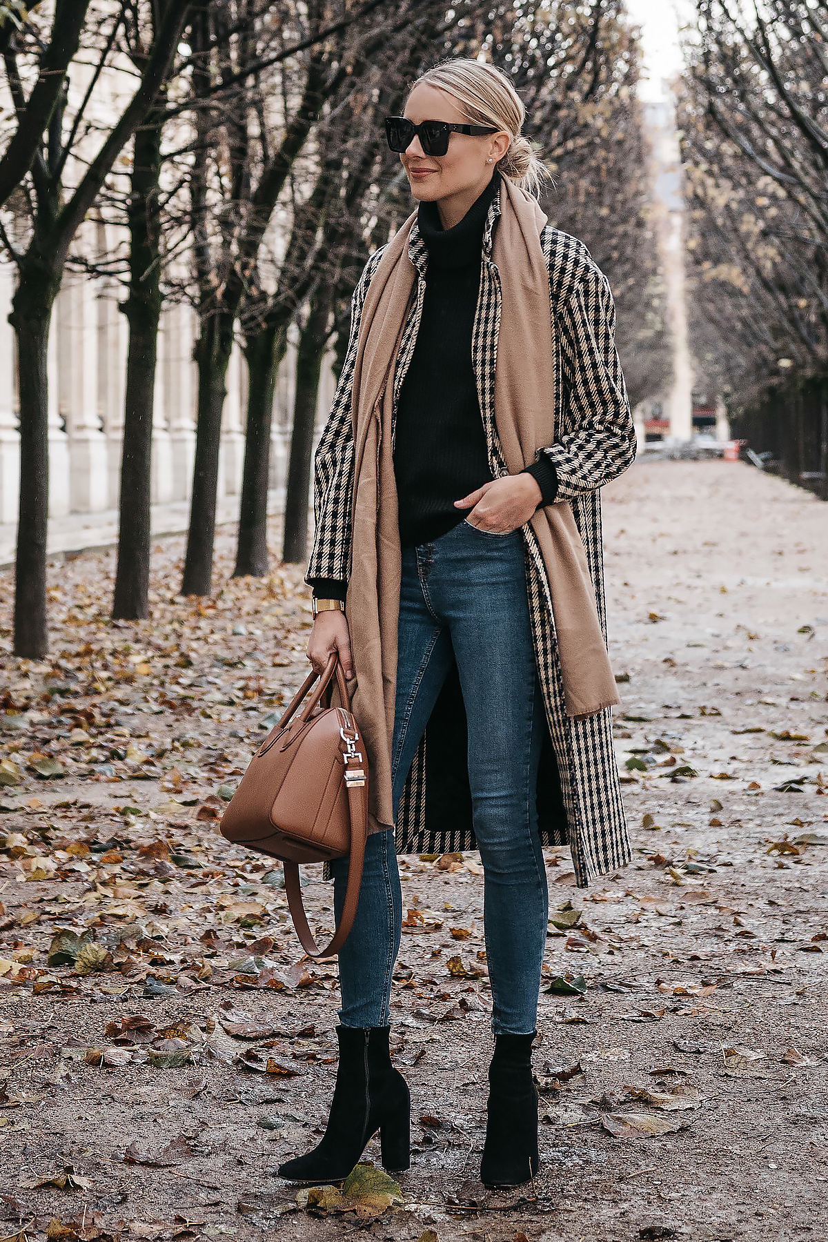 Blonde Woman Wearing Paris France Fall Plaid Check Coat Tan Blanket Scarf Denim Skinny Jeans Black Ankle Booties Fashion Jackson Dallas Blogger Fashion Blogger Street Style