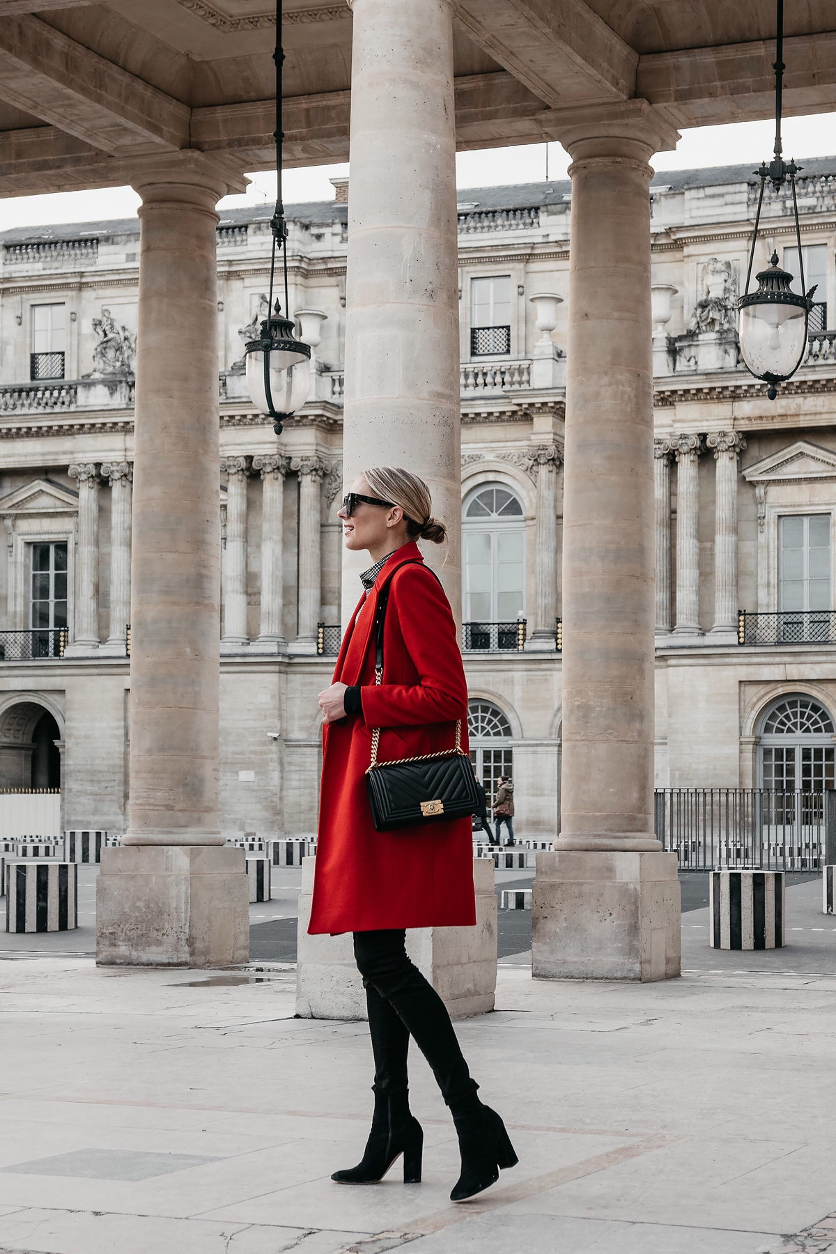 Blonde Woman Wearing Red Wool Coat Black Jeans Black Booties Chanel Black Gold Boy Bag Paris Palais Royal Fashion Jackson Dallas Blogger Fashion Blogger Street Style