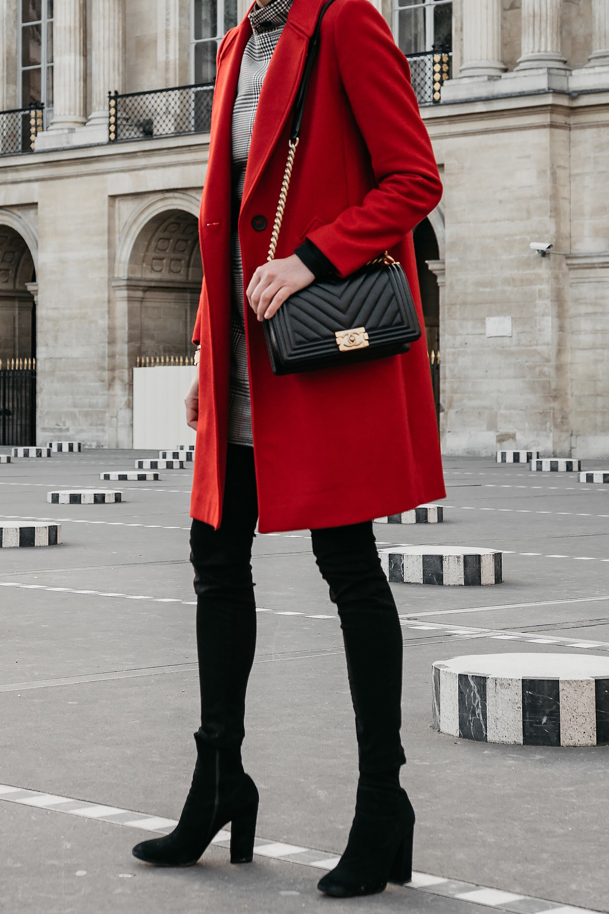 Red Wool Coat Black Jeans Black Booties Chanel Black Gold Boy Bag Paris Palais Royal Fashion Jackson Dallas Blogger Fashion Blogger Street Style
