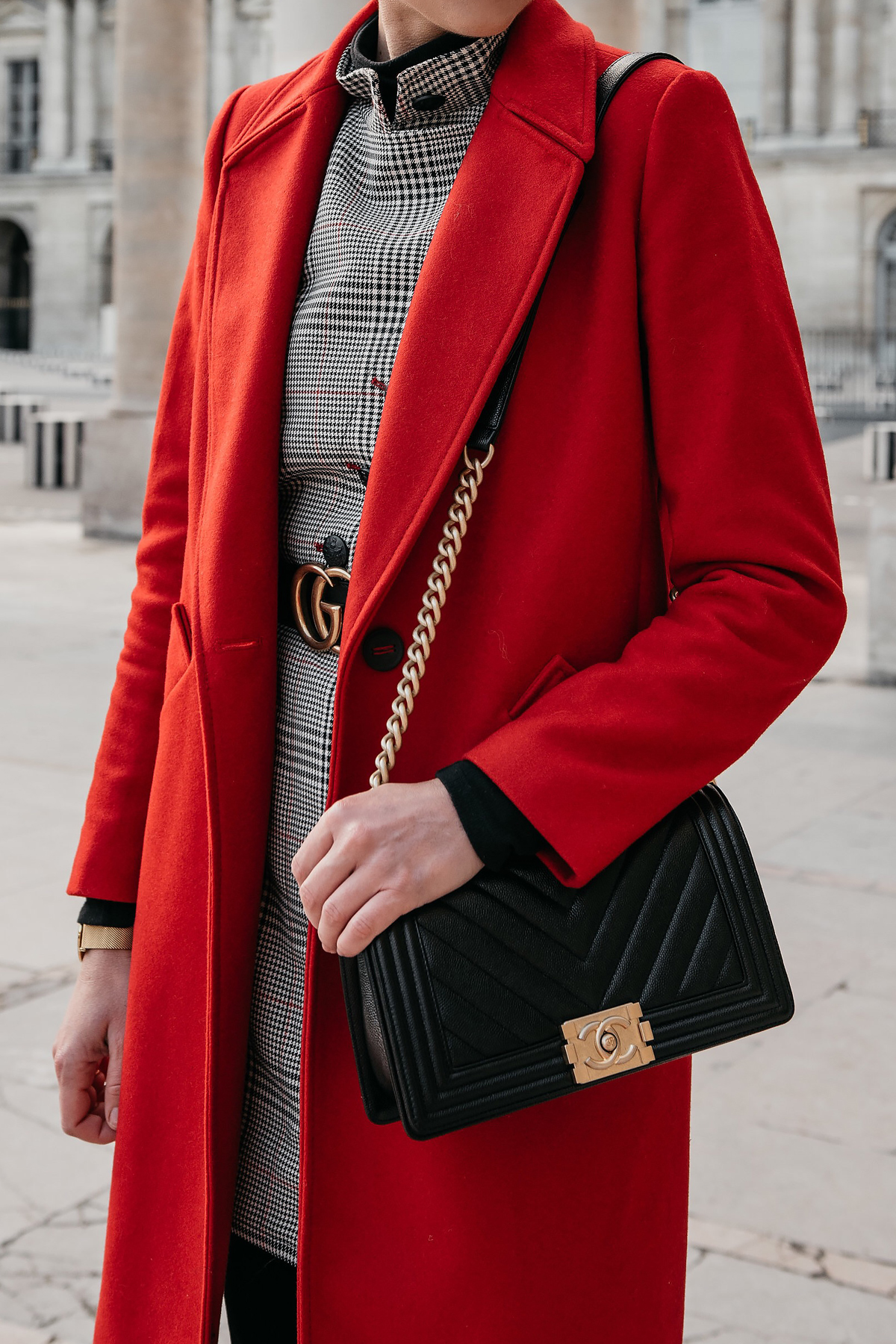 Red Wool Coat Plaid Dress Chanel Black Gold Boy Bag Paris Palais Royal Fashion Jackson Dallas Blogger Fashion Blogger Street Style