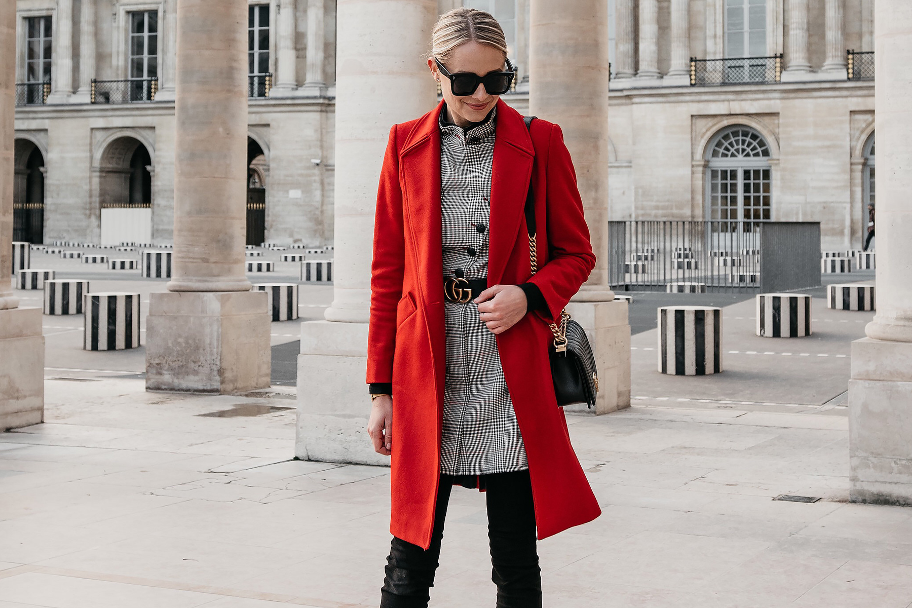 Blonde Woman Wearing Red Wool Coat Plaid Dress Gucci Marmont Belt Black Jeans Black Booties Chanel Black Gold Boy Bag Paris Palais Royal Fashion Jackson Dallas Blogger Fashion Blogger Street Style