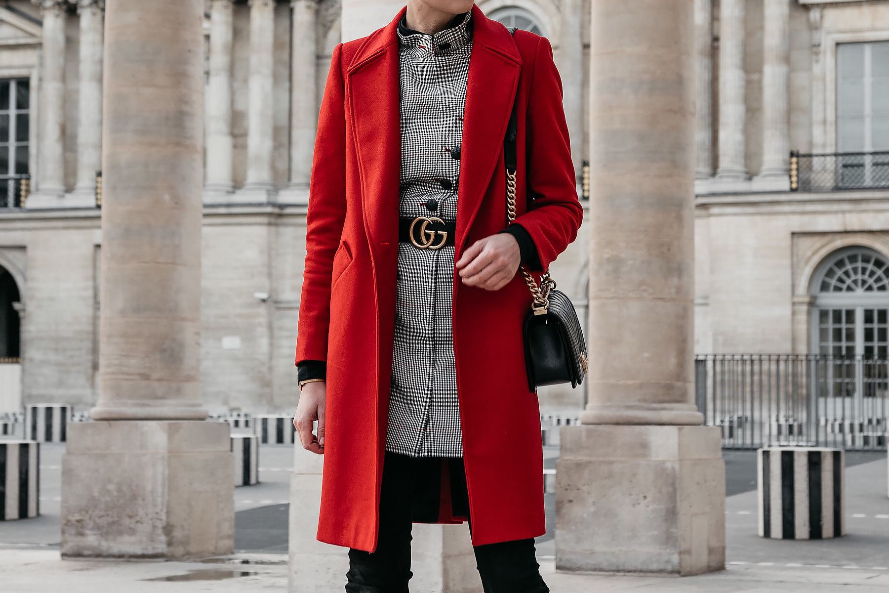 Red Wool Coat Plaid Dress Gucci Marmont Belt Black Jeans Chanel Black Gold Boy Bag Paris Palais Royal Fashion Jackson Dallas Blogger Fashion Blogger Street Style