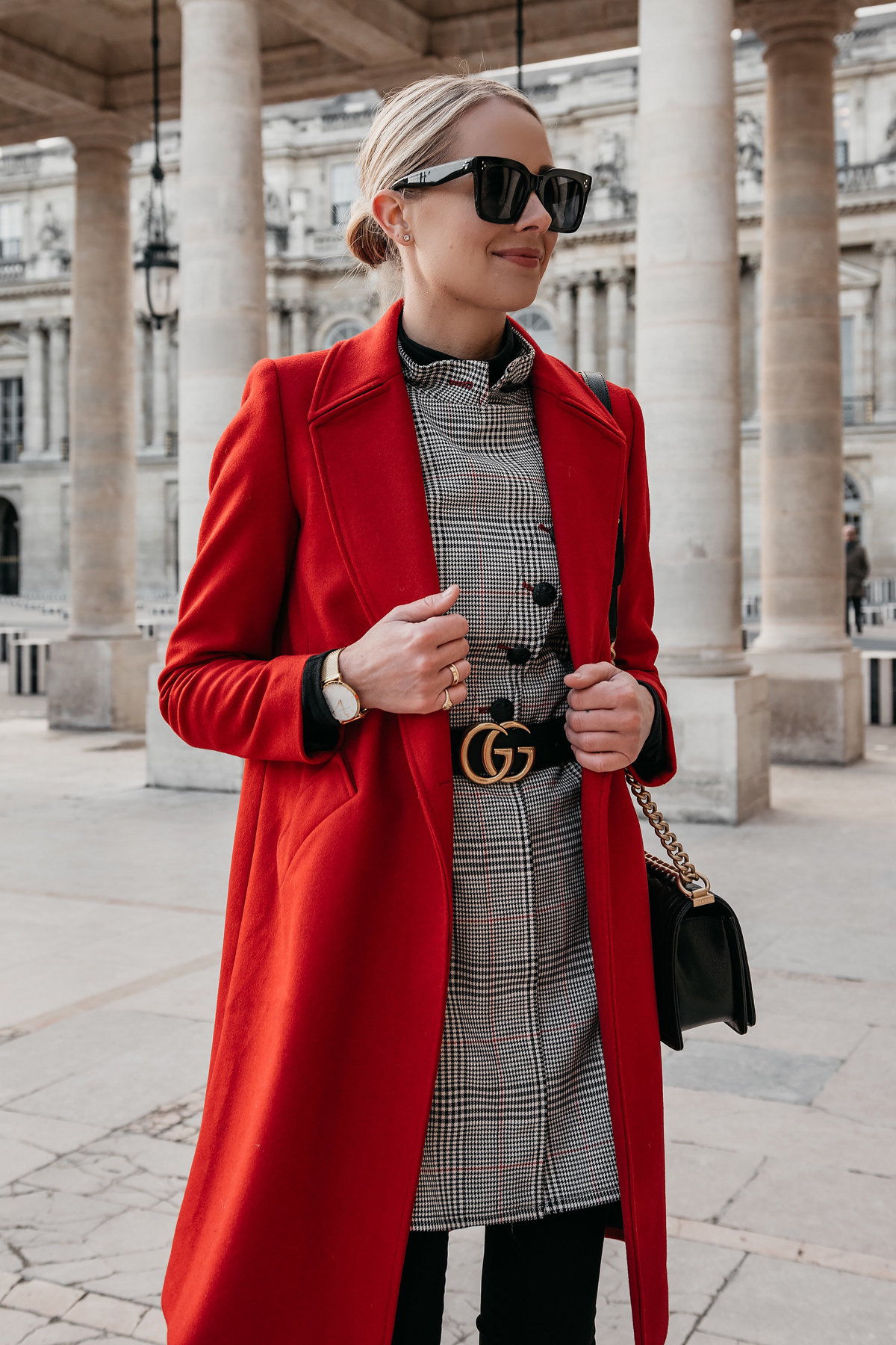 Blonde Woman Wearing Red Wool Coat Plaid Dress Gucci Marmont Belt Paris Palais Royal Fashion Jackson Dallas Blogger Fashion Blogger Street Style