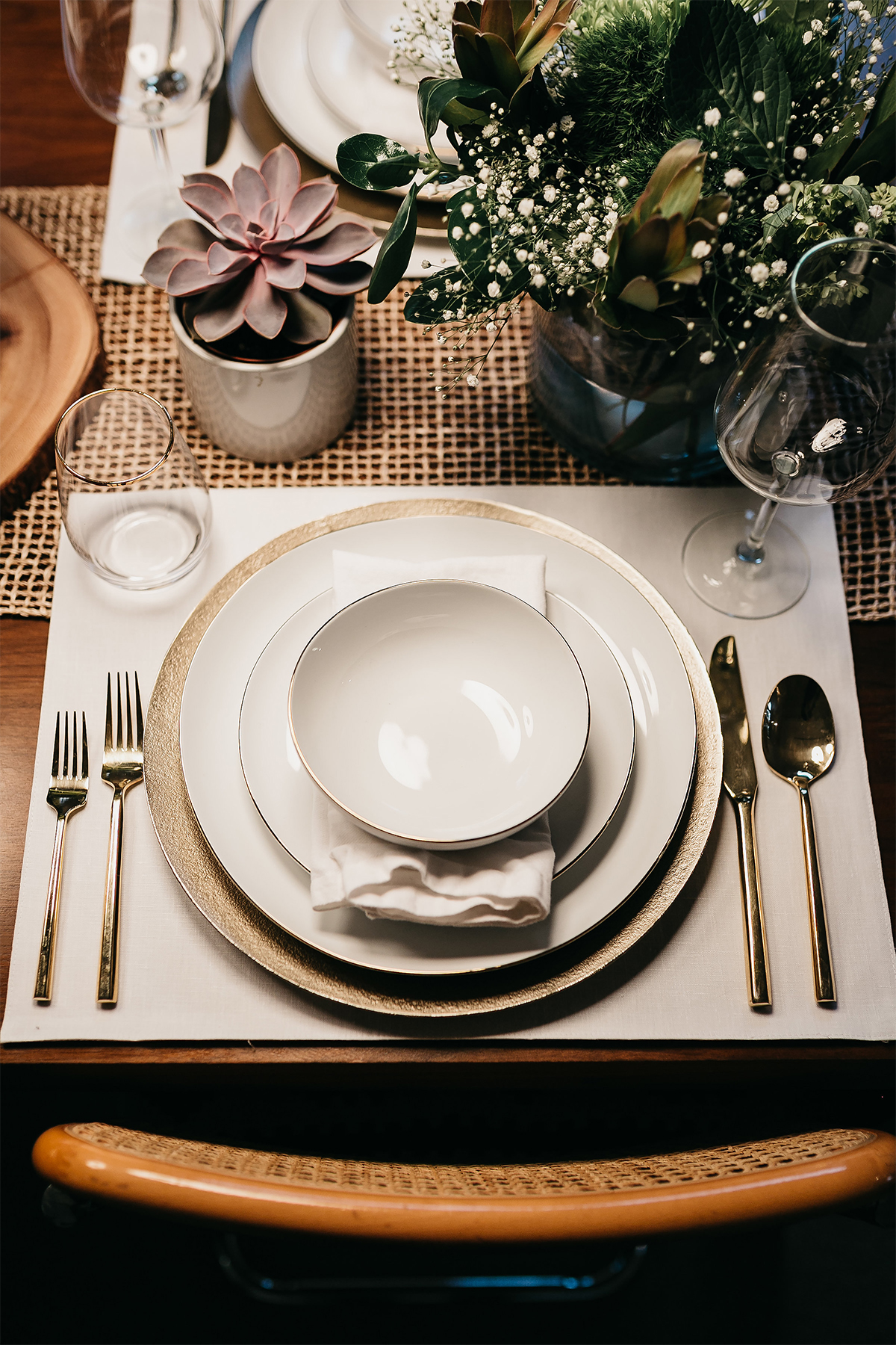 Fashion Jackson Simple Thanksgiving Tablescape White Gold Plates Gold Flatware Succulents Green Flowers