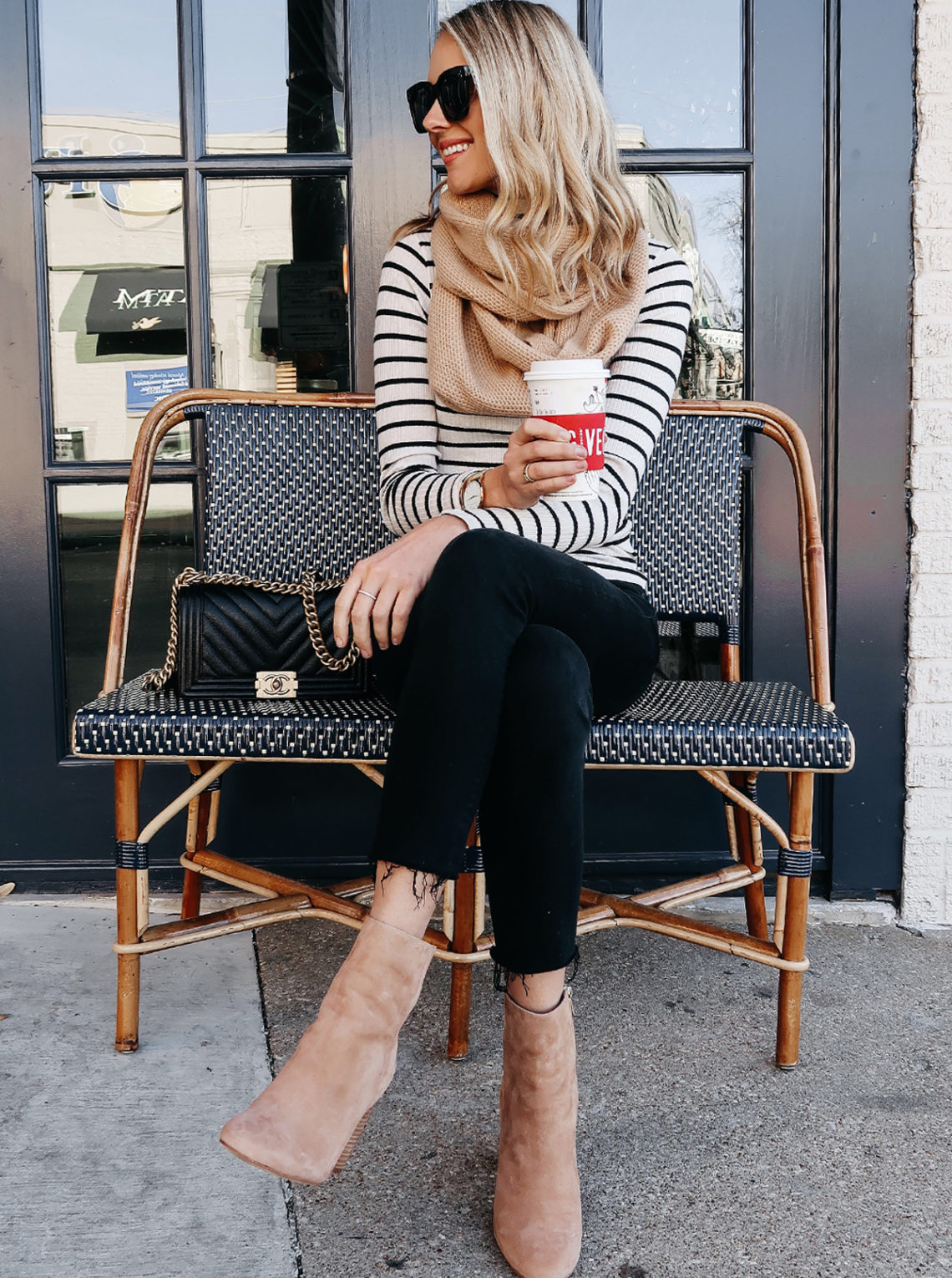 Blonde Woman Wearing Black White Stripe Top Tan Scarf Black Ripped Skinny Jeans Tan Booties Chanel Boy Bag Outfit Starbucks Coffee Fashion Jackson Dallas Blogger Fashion Blogger